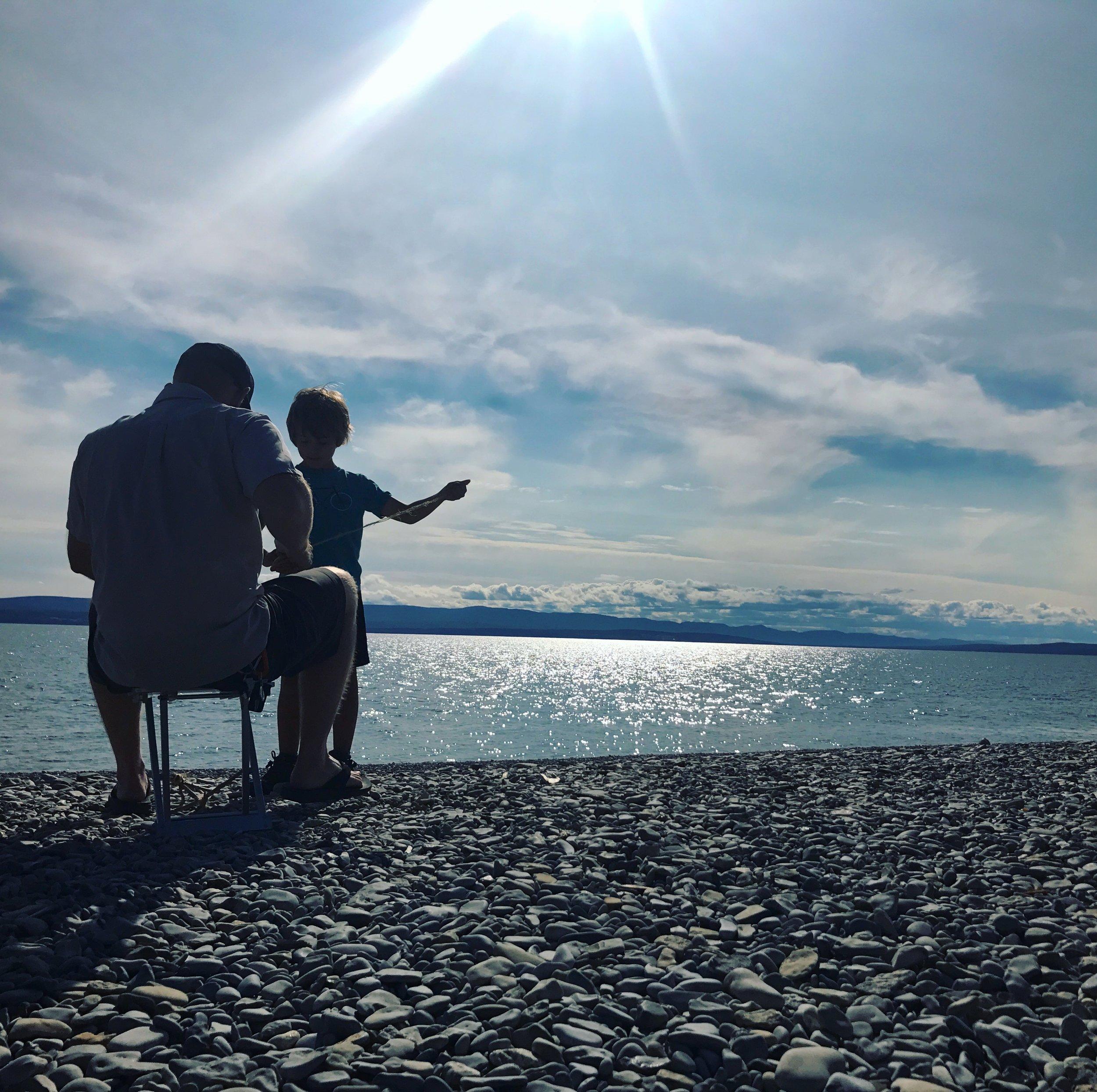 Helping Ben build an anchor on the shores of Gaspé, Forillon National Park.