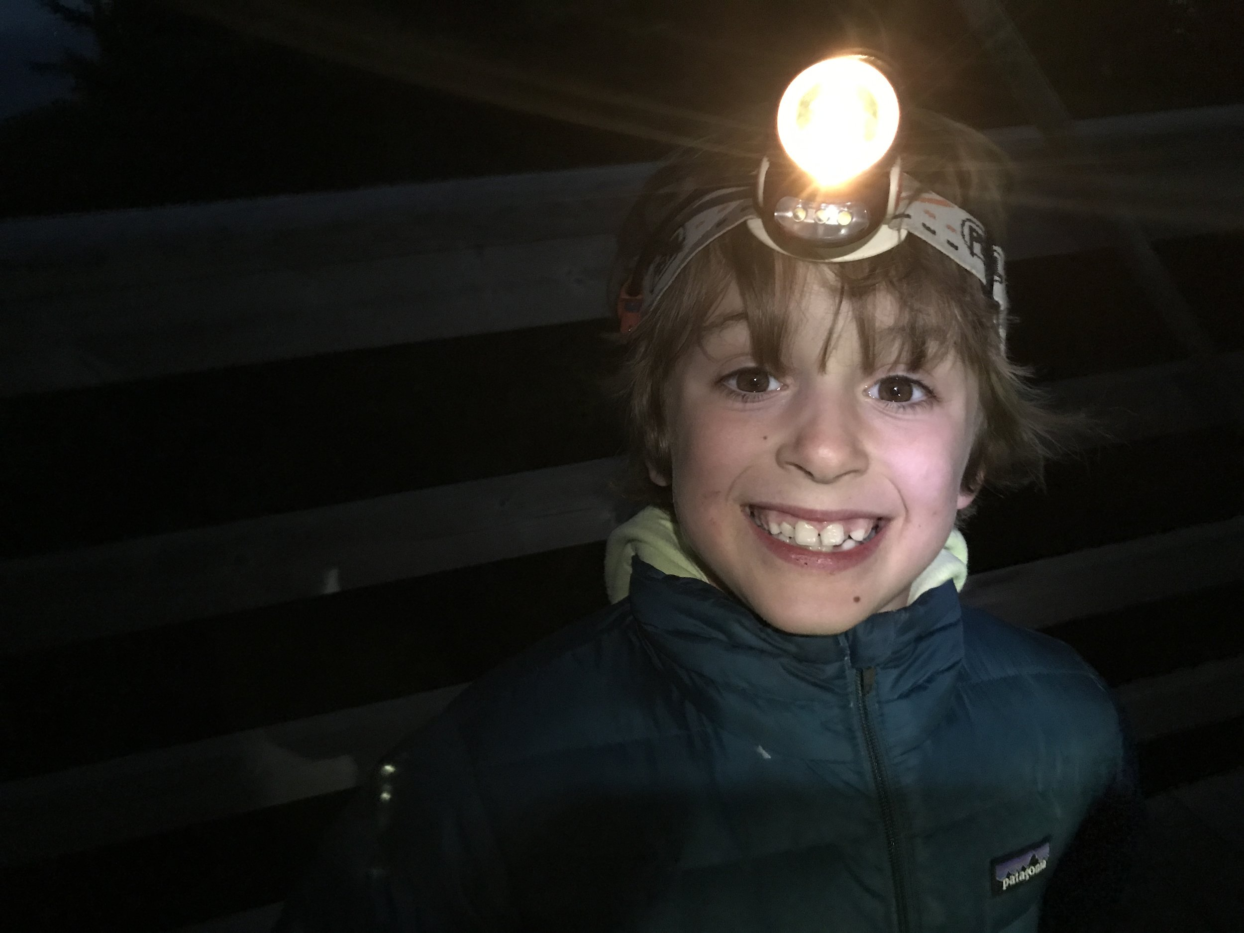 Ben is loving the idea of hiking in the dark...bring on nightfall!