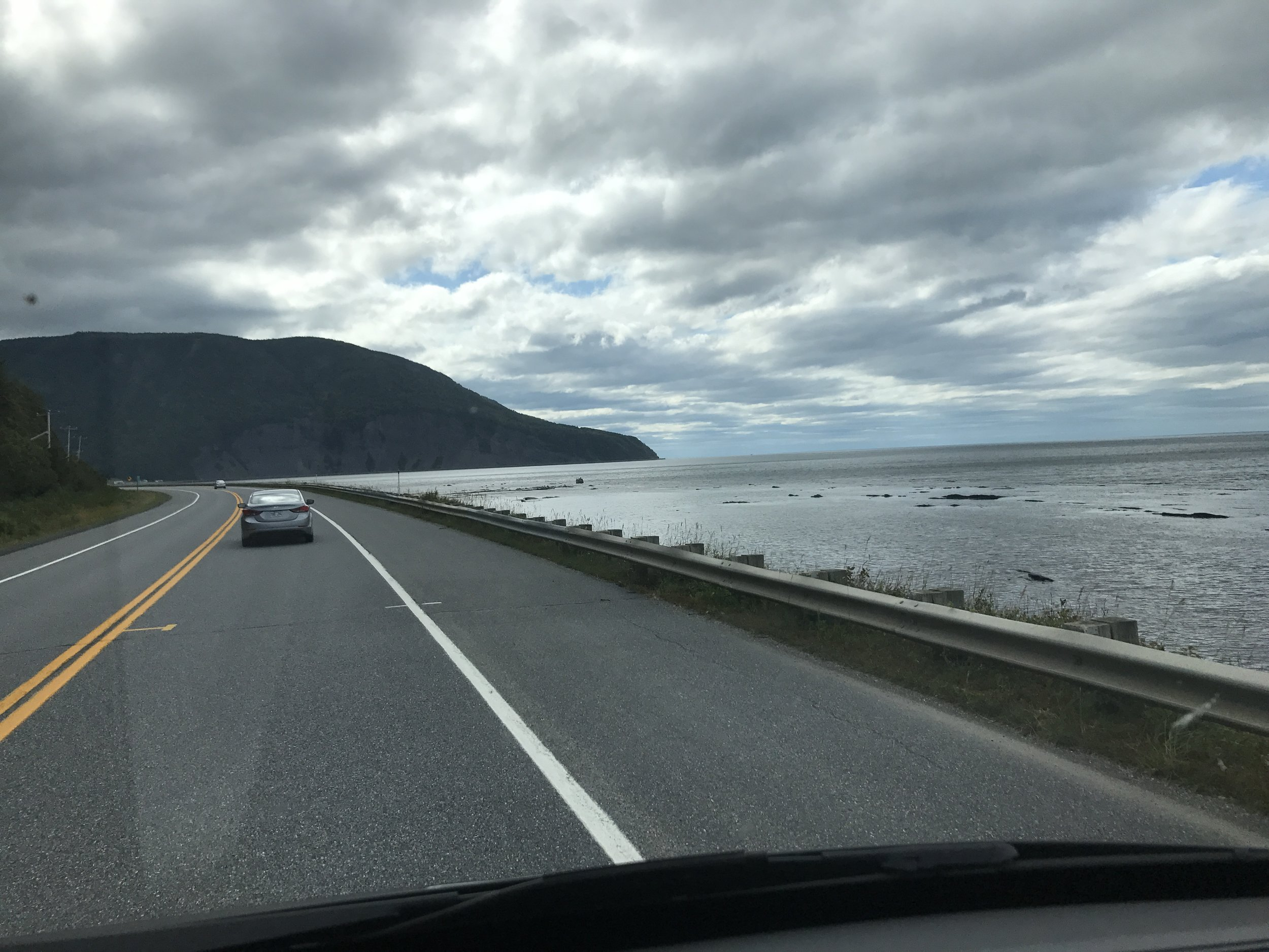 Driving the northern coast of the Gaspésie.