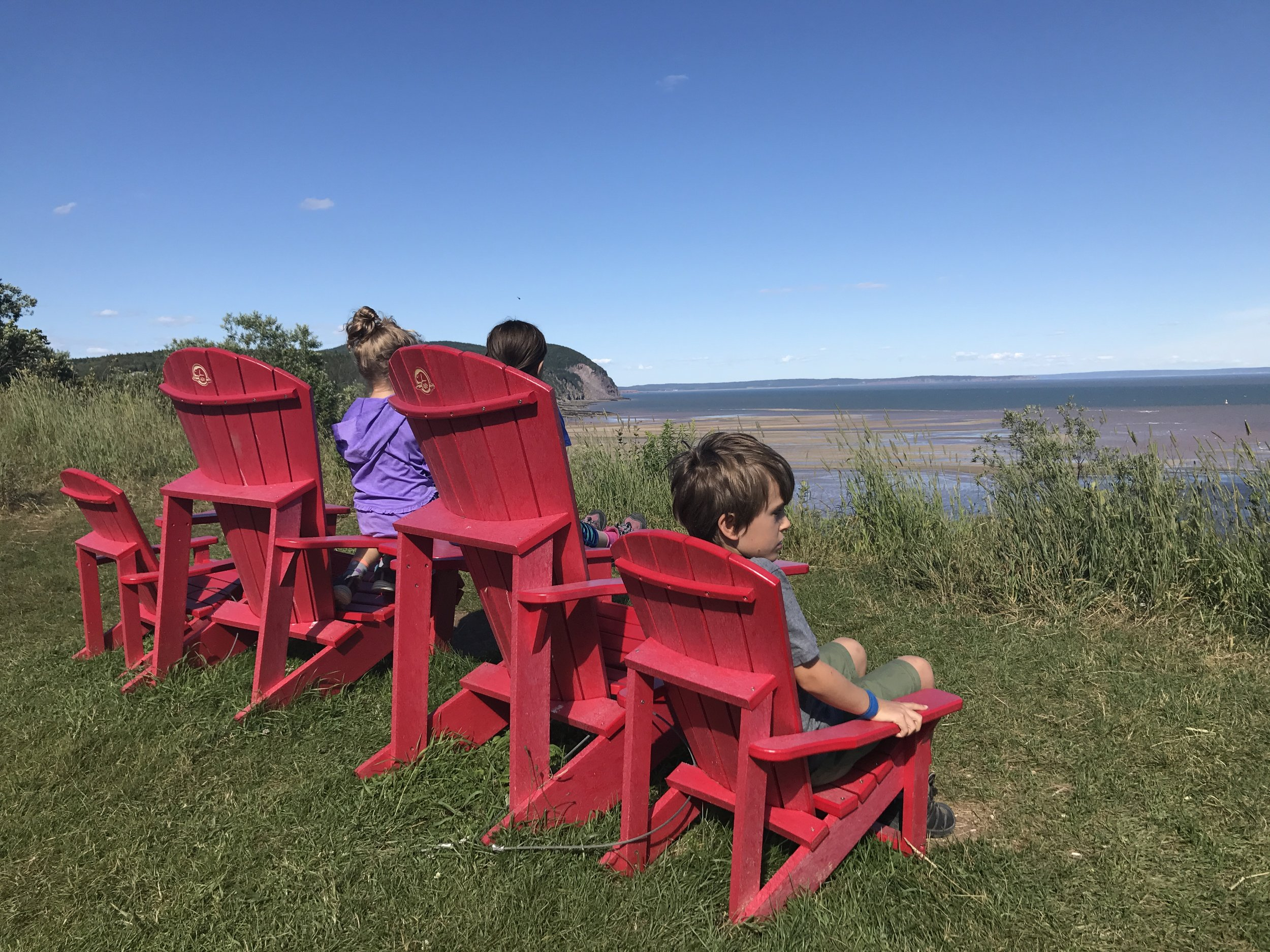 Wonderful views of the Bay of Fundy from these chairs parked in Fundy National Park, New Brunswick. The kids and I thought that they may have received the Cape-Breton Highland's National Park's shipment of chairs since we saw many in Fundy, and none in the Highland's. Guess we've got to leave some hunting for next time!