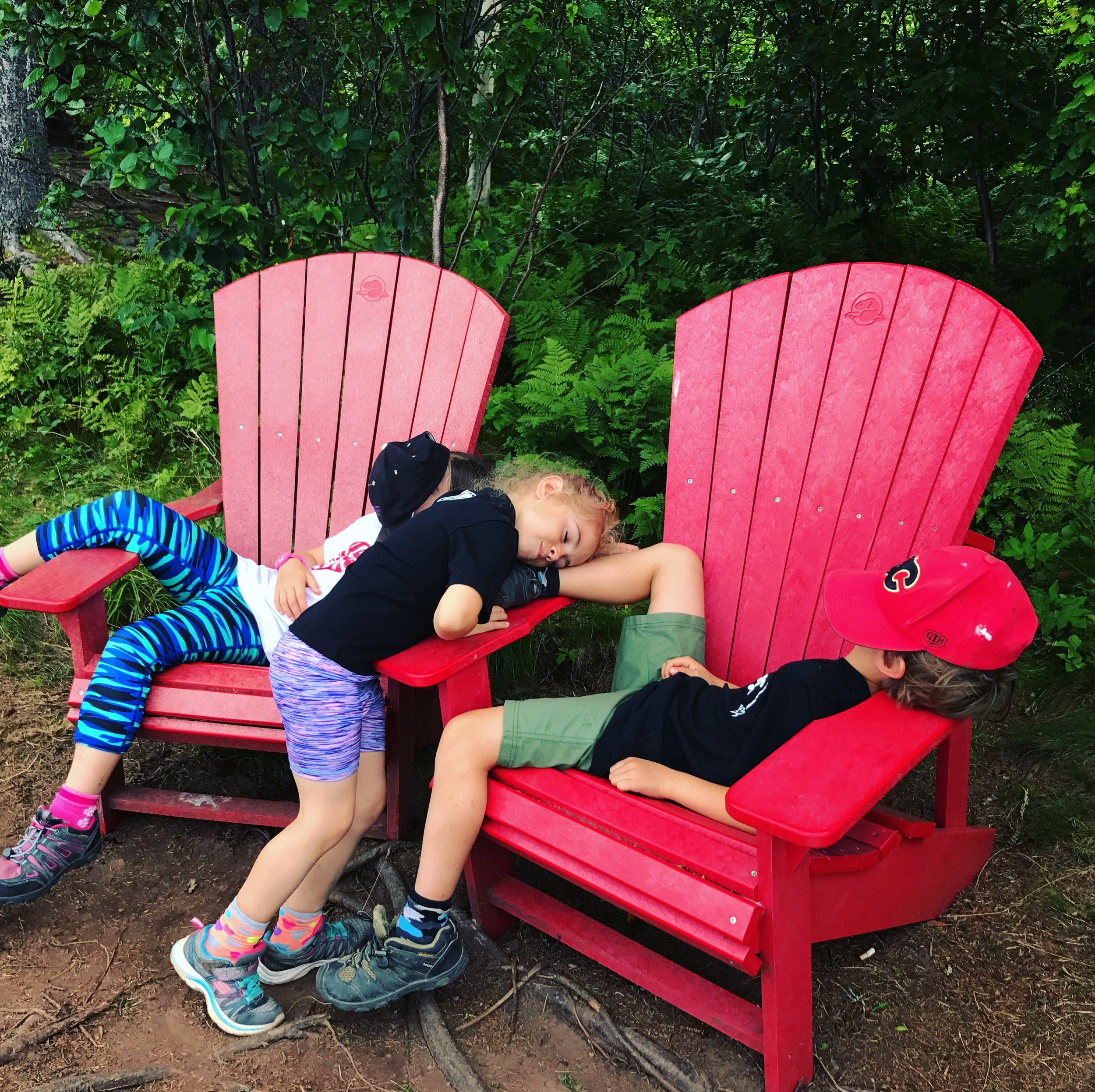 Another set of chairs closer to the end of Matthews Head Trail. They also had a wonderful view of the Bay but these kids were a little too tired to pay attention and got some rest before the hike back up and out. (Fundy National Park, NB)
