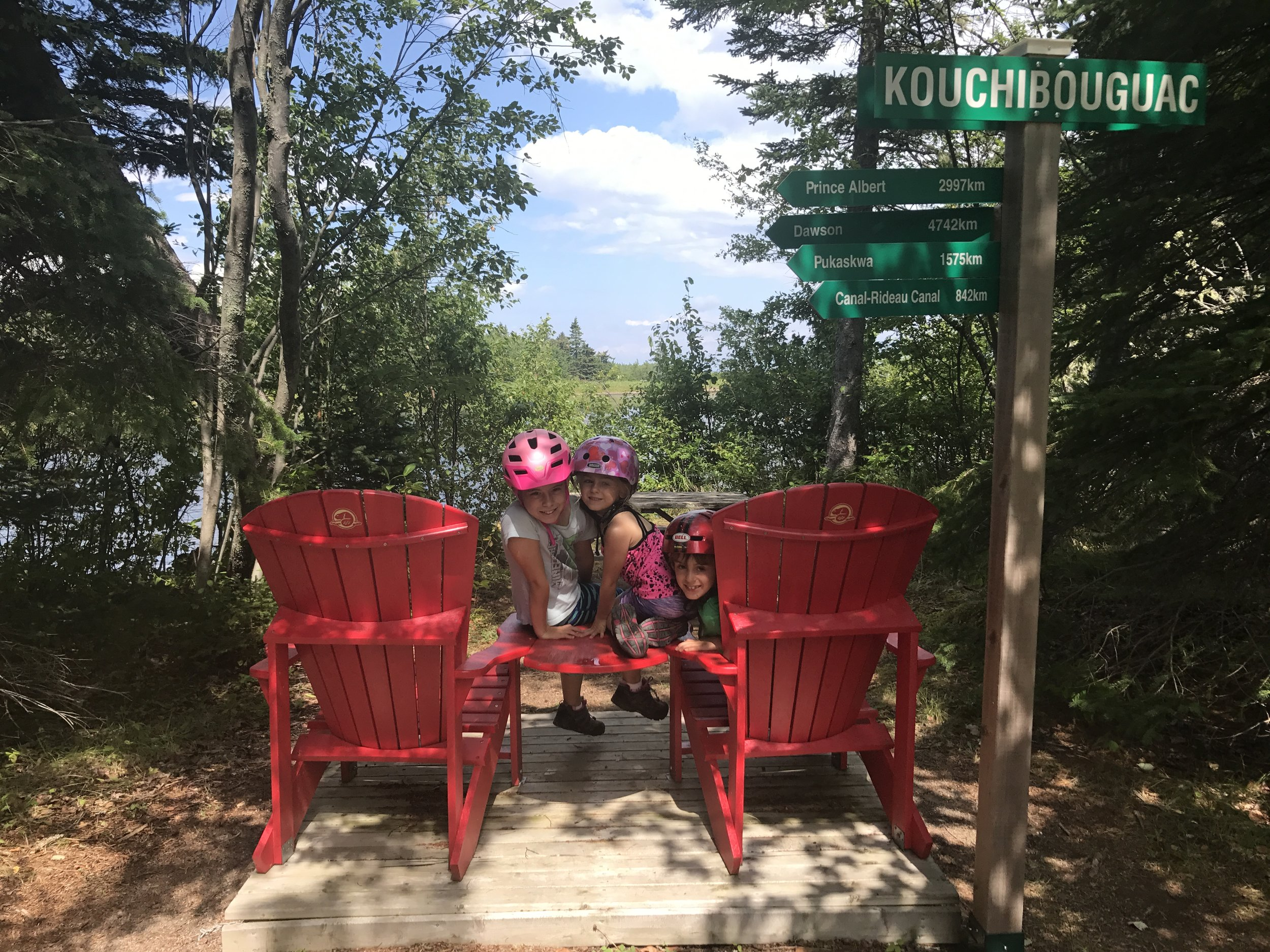 Although we didn't find chairs in the Cape-Breton Highlands following Fundy's many sightings, Kouchibouguac National Park in New Brunswick had several that got the kids amped to find the chairs again.