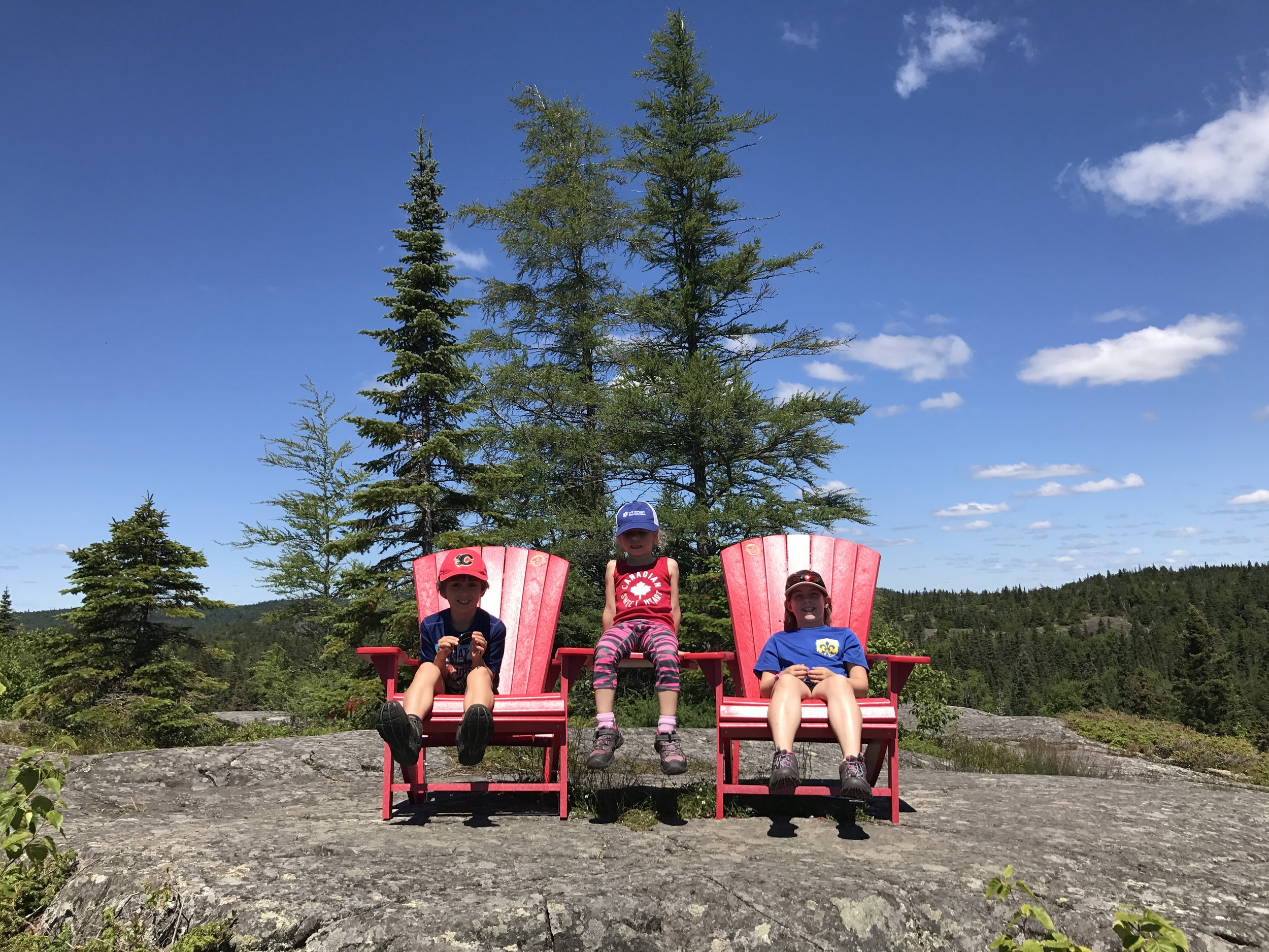 After many kilometres of hiking in search of these chairs, we finally found them in Pukaskwa National Park, Northern Ontario.