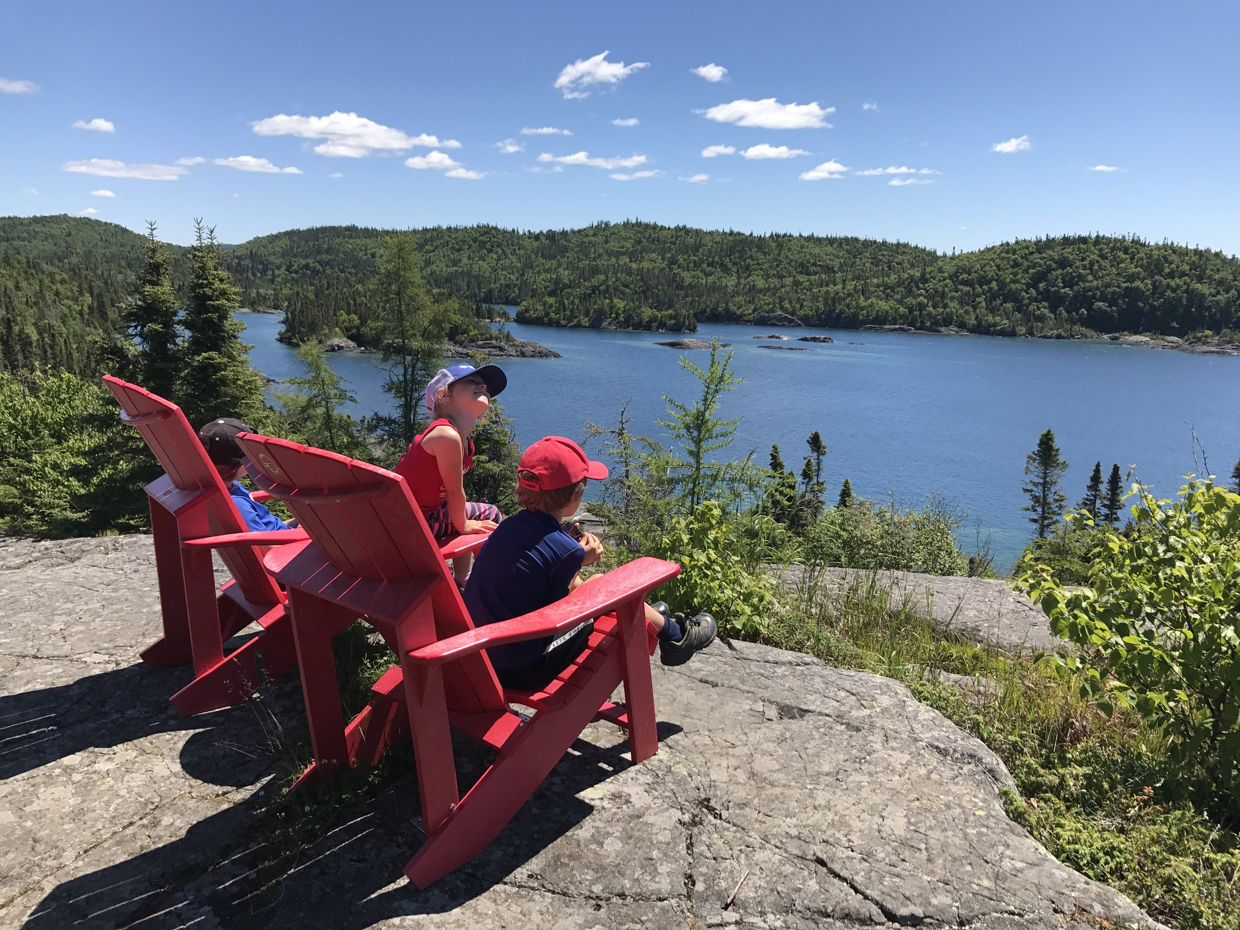 Pukaskwa's chairs offered breathtaking views straight out of a Group of Seven painting. Well worth the hike! Now to rest and take a load off.
