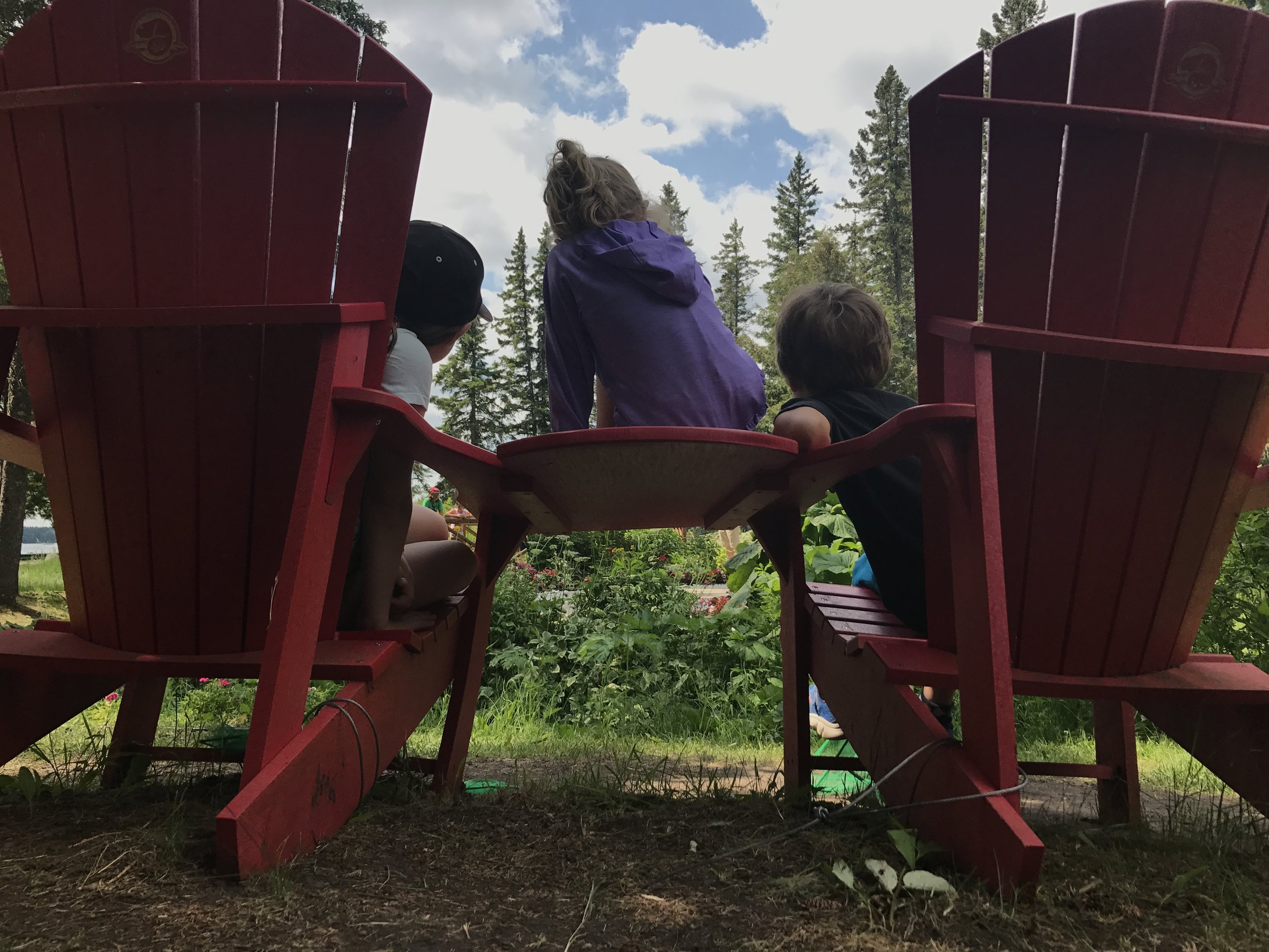 Another set of chairs in Manitoba's Riding Mountain National Park where we paused for lunch between Geocaching on the Brule Trail and searching for bison at the park's enclosure.