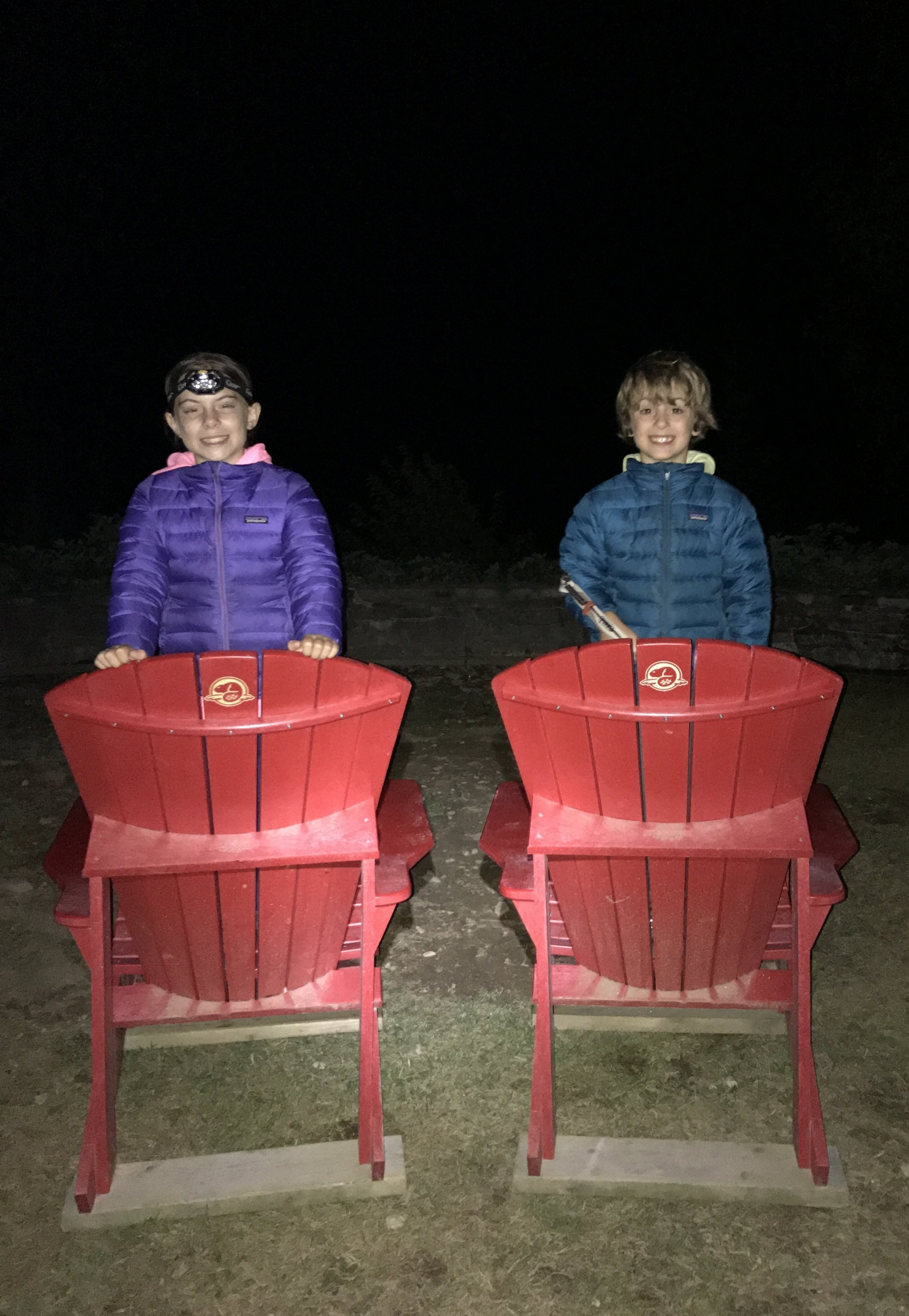 These chairs were the same chairs from the previous photo, but on the descent back to the lot at Cap-Bon Ami in Forillon. It became the most talked about hike on our 64 days on the road because of the novelty of hiking in the dark. It was a first for the kids!