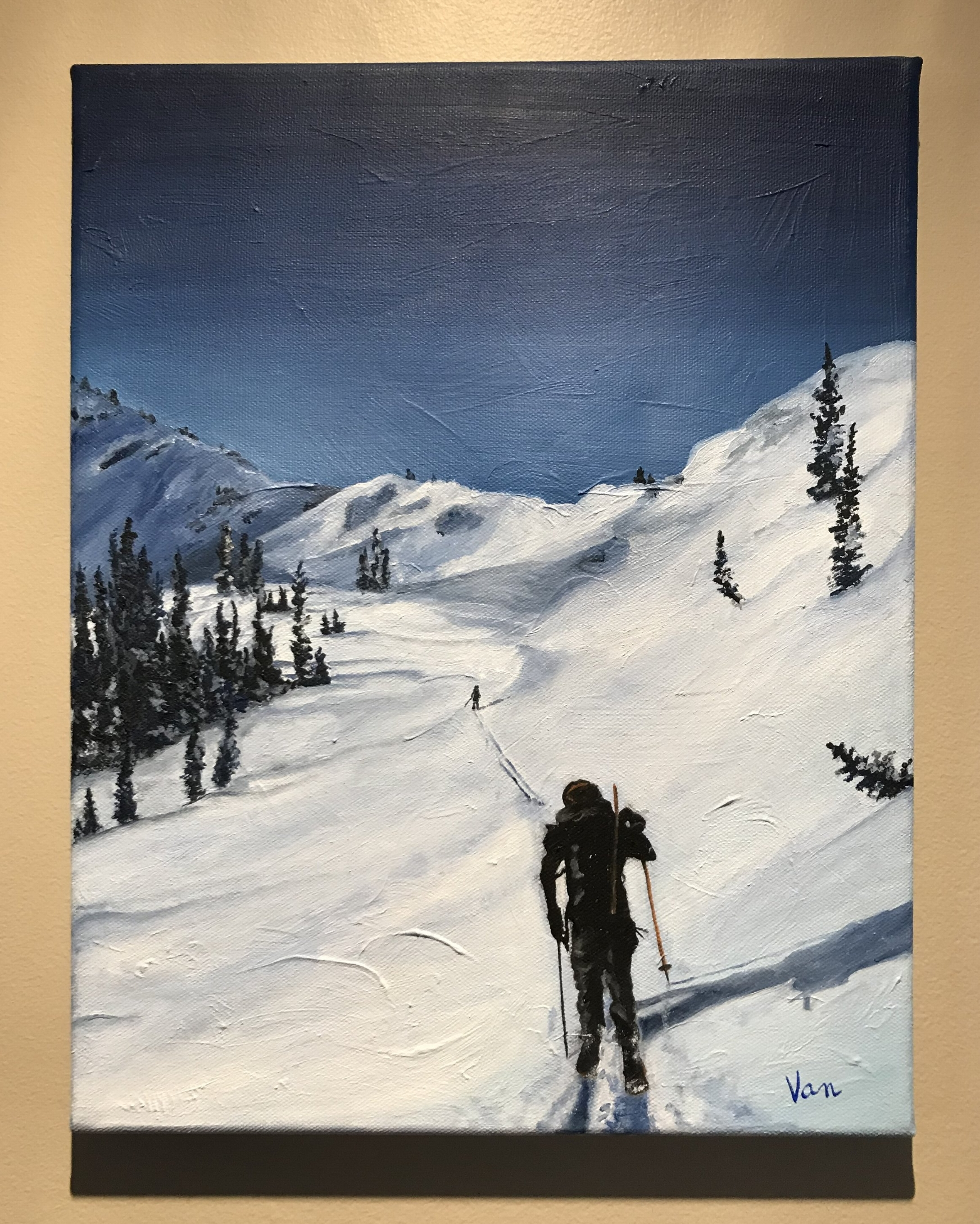 Ski Touring - Oil on canvas.Depicting a touring day in the Bonnington Range in the Kootenays, BC.