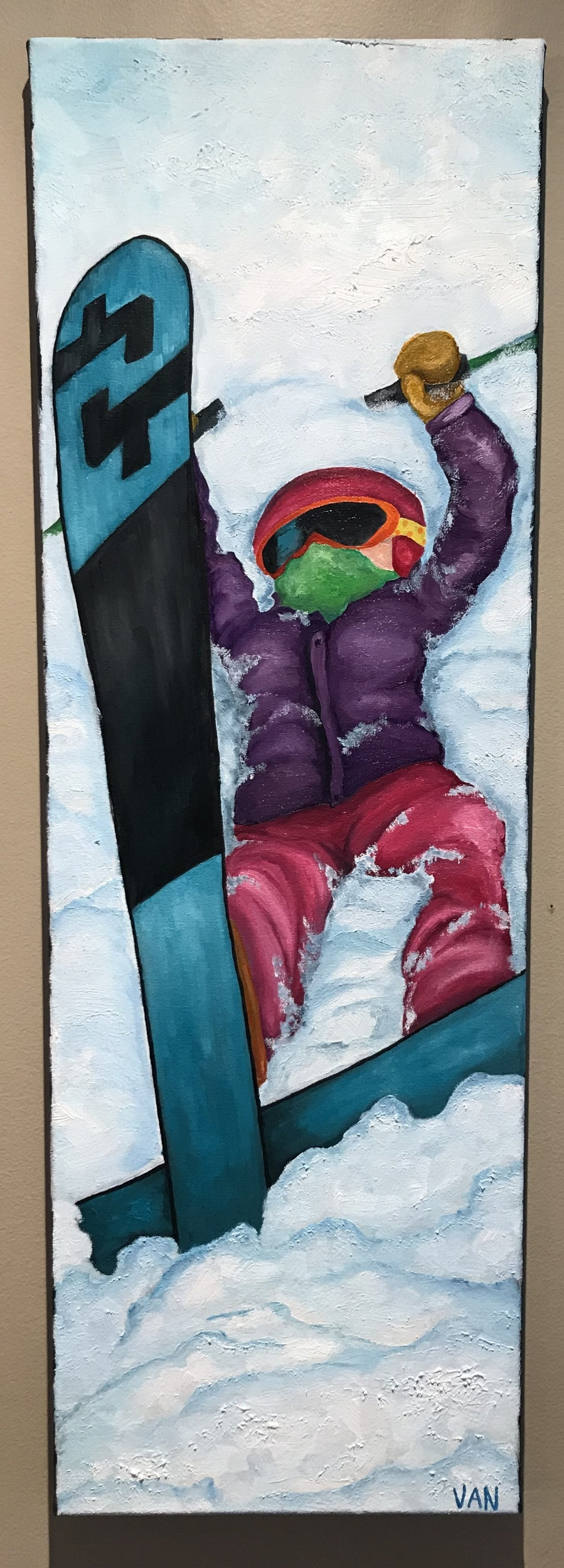 Fallen Little - 10x30, oil on canvasI'm inspired by ski kids and how much they learn in such a short amount of time. I hate to admit it, but my own are now technically stronger skiers than me...when did that happen?! But because they are so motivated to show me up, sometimes they end up fallen and I confess that sometimes it makes me laugh. There are many days that don't necessarily go smoothly...some where we forget gear at home, some where we can't seem to be on time for ski school, some when we're bribing them to ski down the hill when they decide they're done, some when we search for skis in the snow after a binding released, some where poles are dropped off the chairlifts, and some where they fall, and well, they're stuck. This painting is of a fallen little.And to all the folks that keep dragging their kids out there...I applaud you 👏🏻👏🏻👏🏻 job well done!
