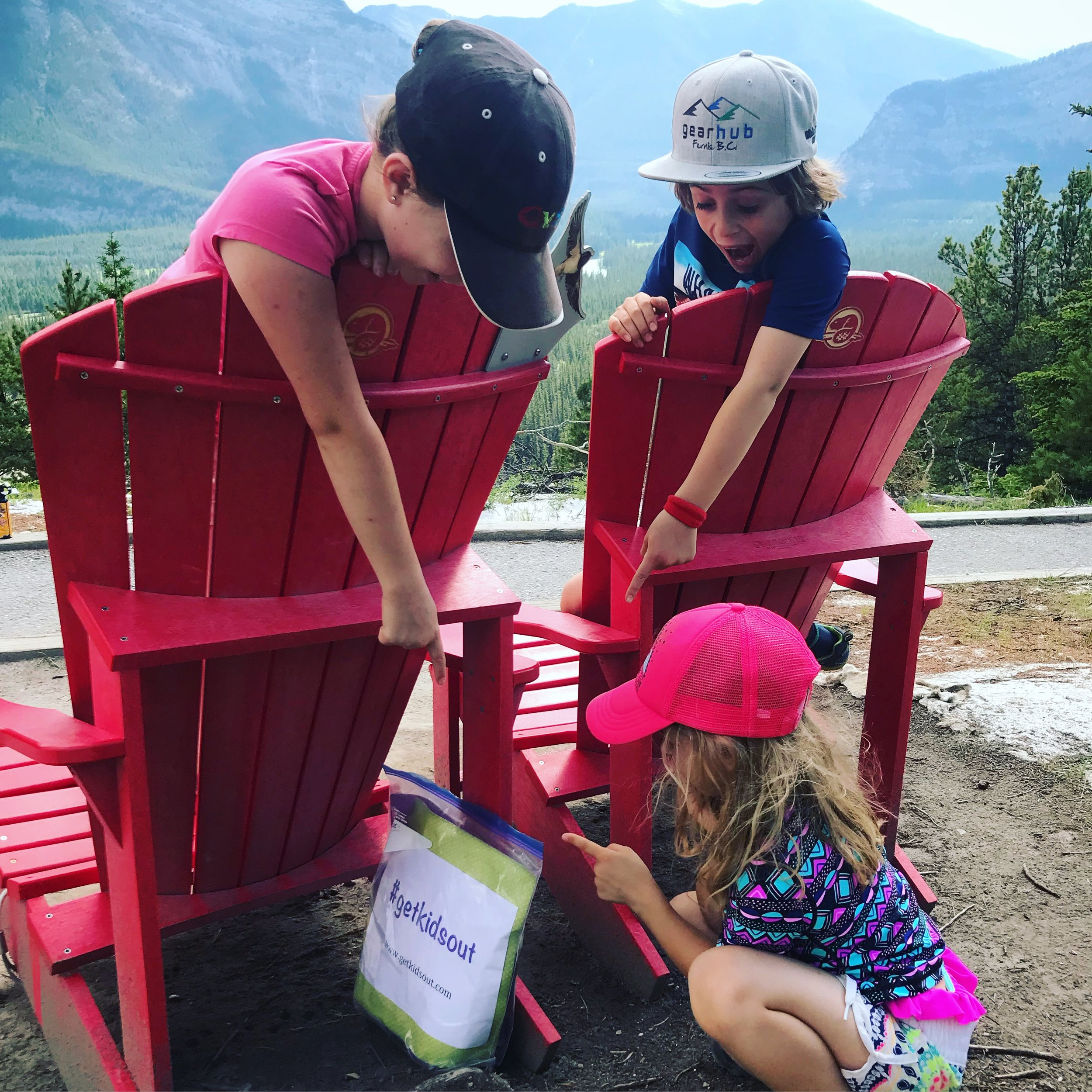 The Treasure Bag launch in Banff National Park. Dropped at the famous red chairs.