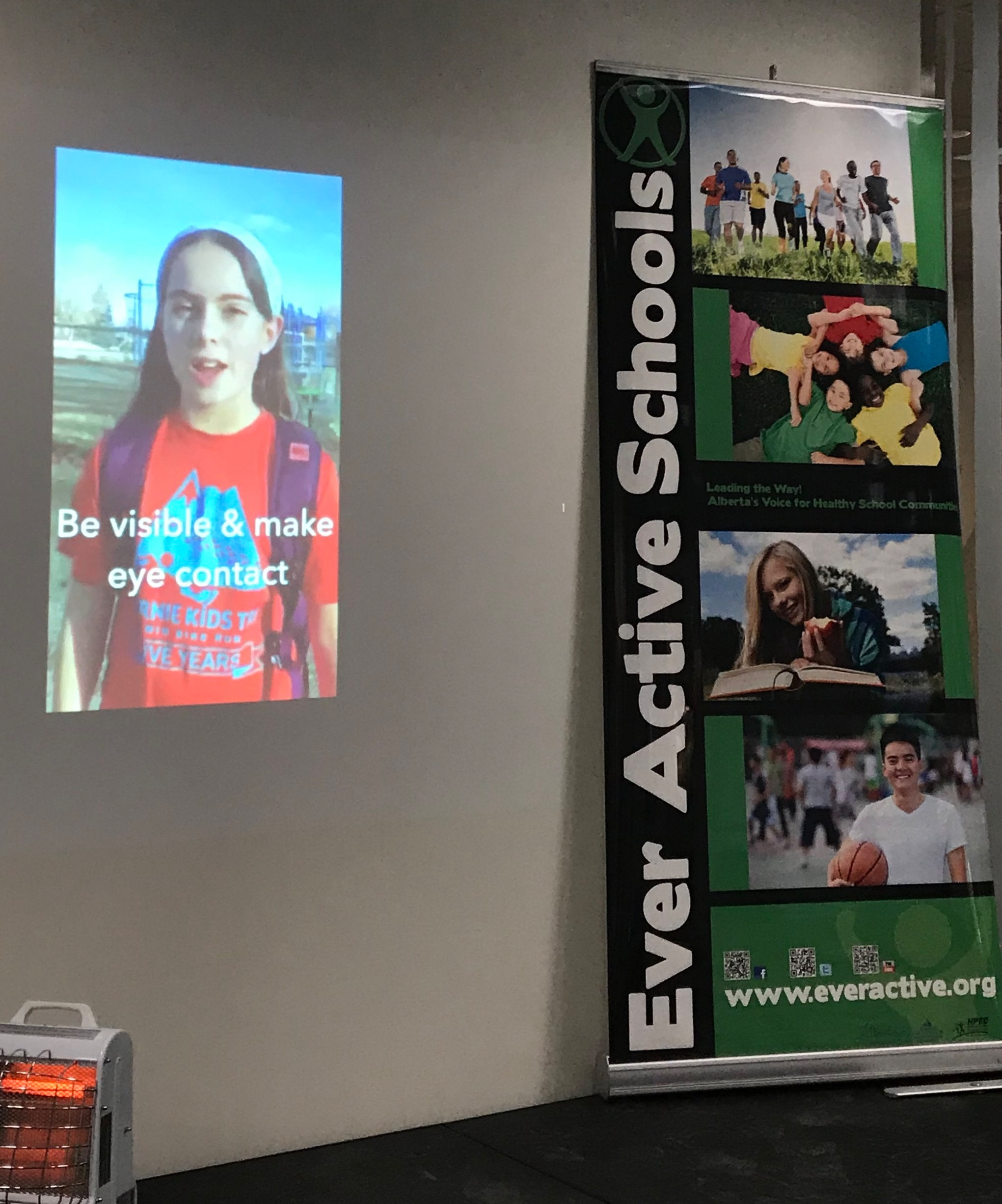 Calgary Teacher's Convention 2019 - One of my soundbites was used at a presentation with Ever Active Schools at the Teacher's Convention. I wonder if my teachers saw me?! I think I'm looking pretty good on the wall, don't you?-#getkidsout Ambassador SophiePhoto credit: Tracey Coutts