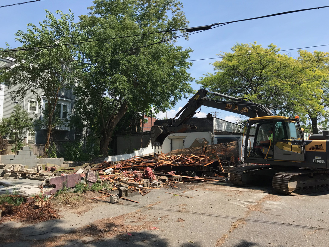 Demo day for the repair shop extension - making way for an expanded design studio