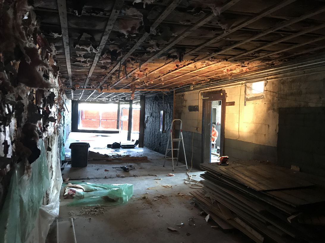 Old musty insulation, walls and all systems removed.