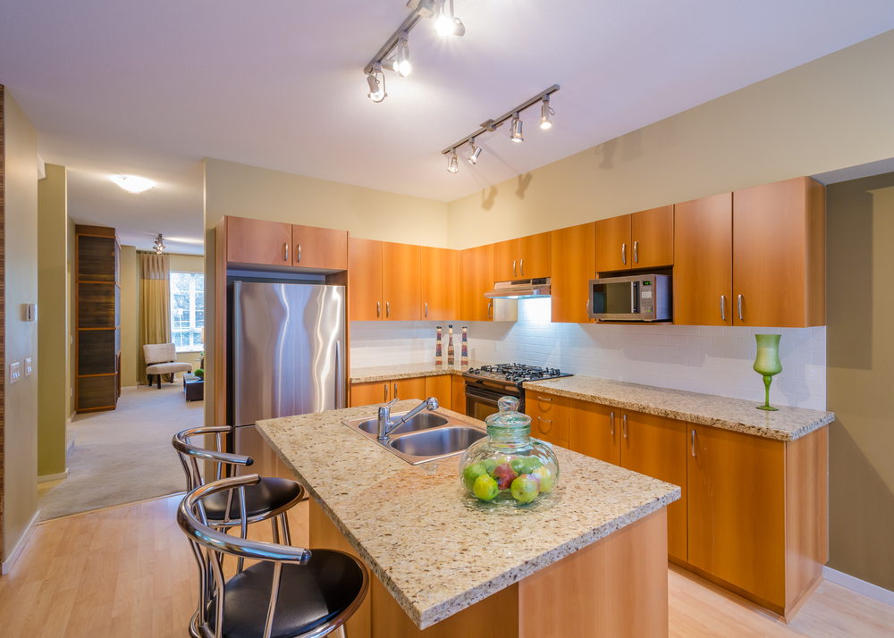 Position your track right in the kitchen to avoid glare and shadows
