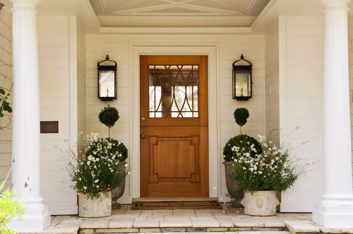 Lanterns flanking a front door - traditional and beautiful