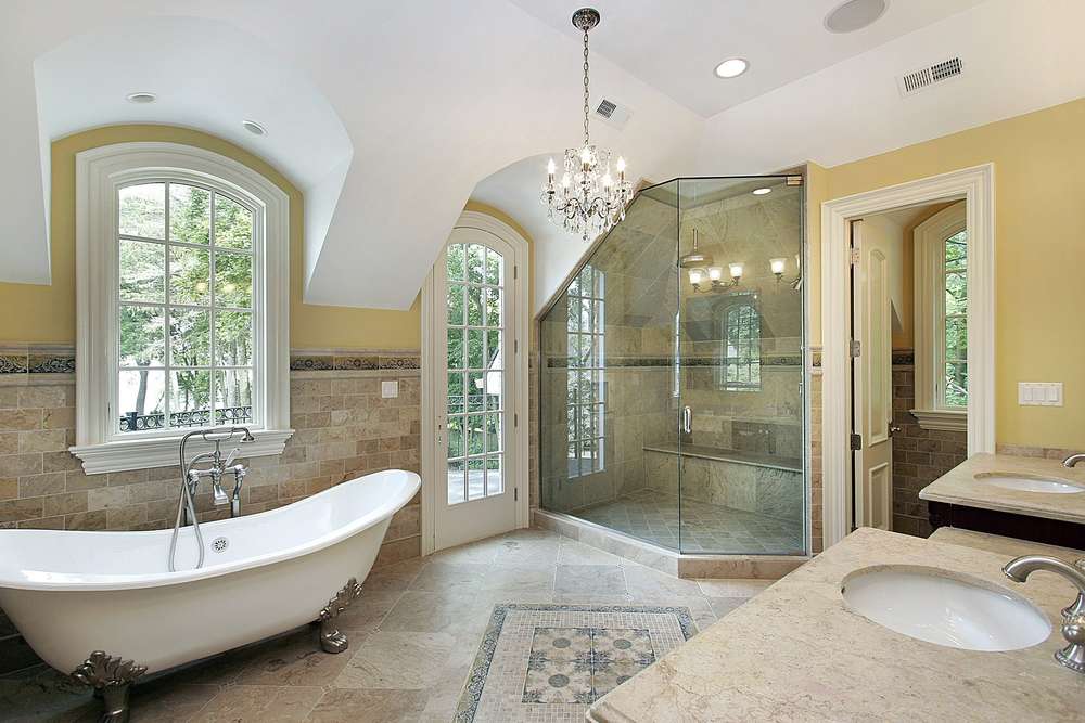 Luxury bathroom with chandelier