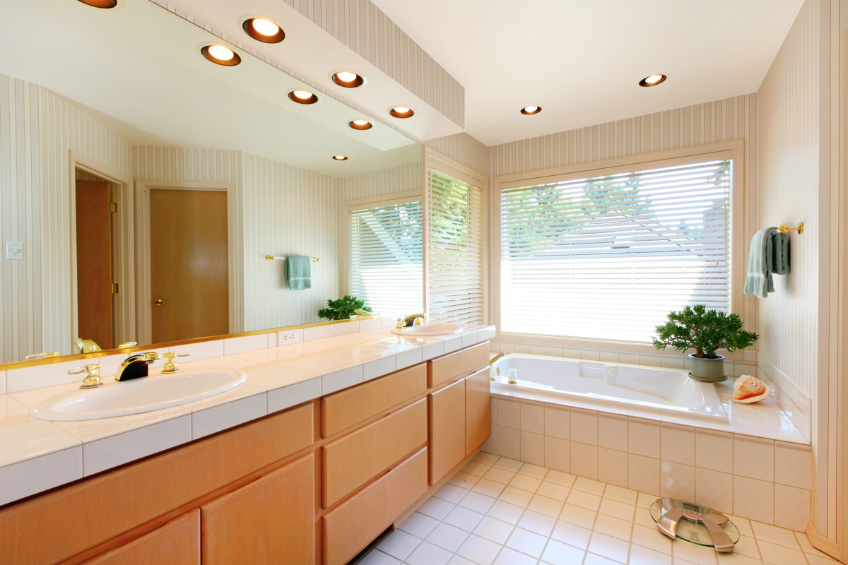 Recessed lights over the vanity