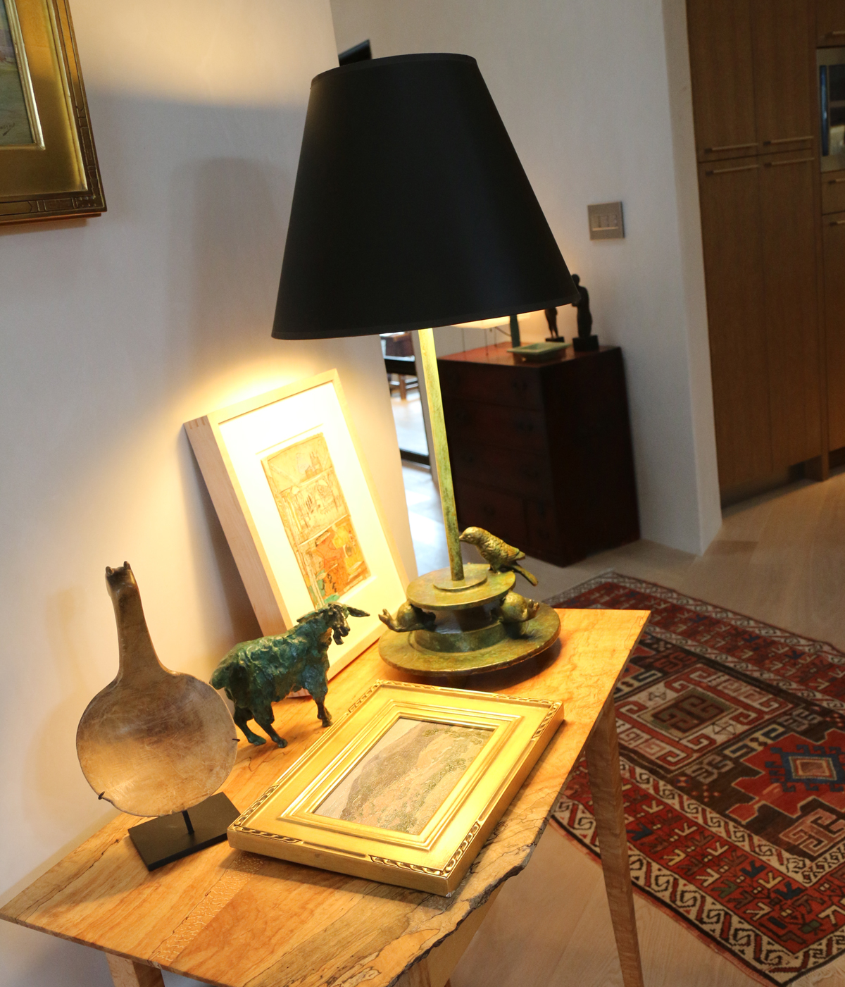 Vignette with copper table lamp
