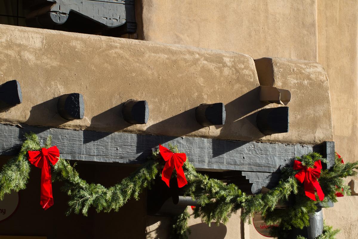 Santa Fe adobe building with garlands
