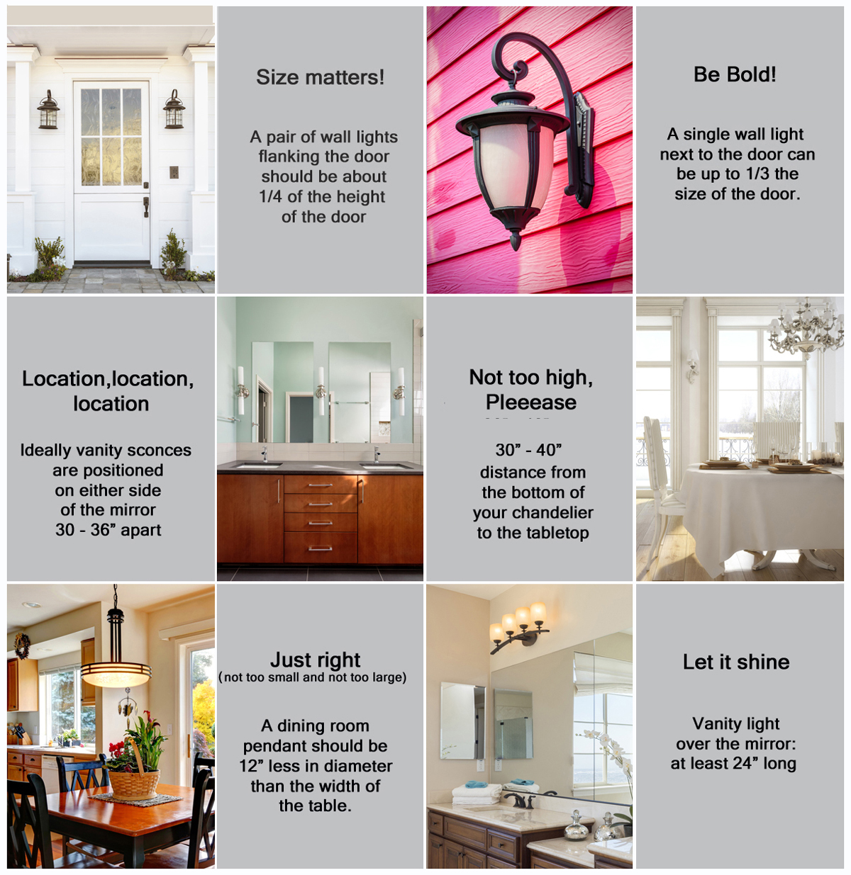 A few basic rules of thumb for lighting your home