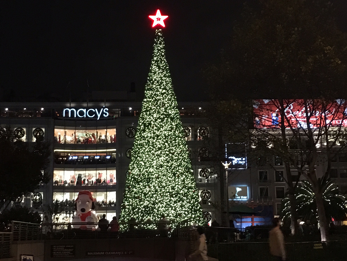 Huge, beautiful tree, at Macy's, Snoopy and decorated palm trees Holidays in San Francisco