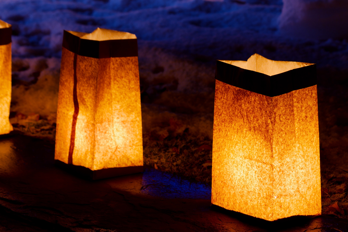It's a simple lunch bag, top folded down, sand in the bottom and a votive candle - a New Mexican luminaria