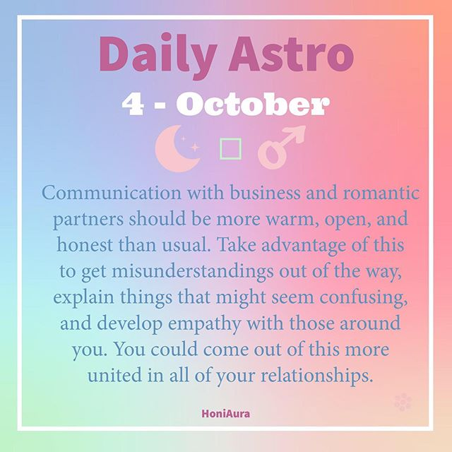 Moon in Capricorn ♑️ Communication with business and romantic partners should be more warm, open, and honest than usual. Take advantage of this to get misunderstandings out of the way, explain things that might seem confusing, and develop empathy with those around you. You could come out of this more united in all of your relationships 🌻✨. ⠀⠀⠀⠀⠀⠀⠀⠀⠀⠀ October 4th,  Action-oriented Mars (the planet of passion) ♂ slipped into the sign of Libra ♎️ while you were sleeping. Libra ♎︎ softens the planet, and Mars is now more prone to arranging things in nice, slow ways rather than simply barreling into them (and looking good while doing so). There's no such thing as indifference when the earthy Capricorn moon sextiles Scorpio Mercury (planet of communication) ☿ this afternoon. People who care are with you all the way, in case you need a little support for a project. ⠀⠀⠀⠀⠀⠀⠀⠀⠀⠀ Tonight's organized, practical, and supremely stable Capricorn moon (planet of expression) ☽ doesn't herald TGIF (good times being had by all), but you could get lots done. ⠀⠀⠀⠀⠀⠀⠀⠀ Open and Honest ♥️