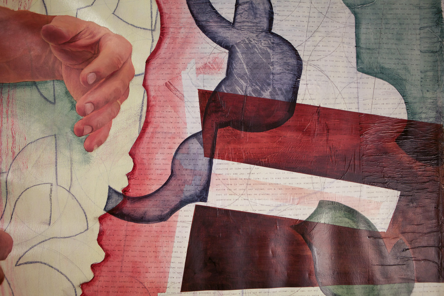 """Recovering the body 1 , oil on canvas and collage, 2014, 74""""x 68"""" (detail)"""