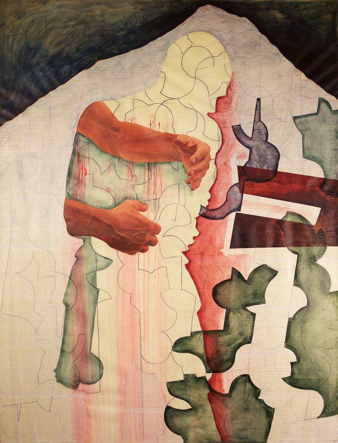 """Recovering the body 1 , oil on canvas and collage, 2014, 74""""x 68"""""""