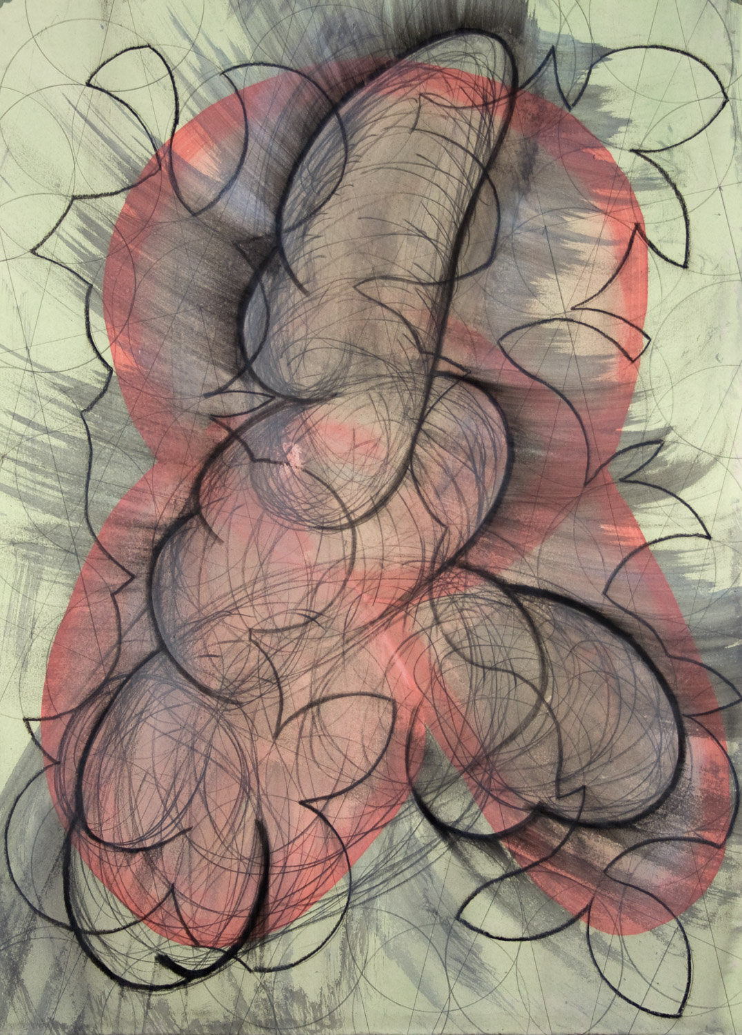 """untitled, 2005, 30"""" x 22"""", acrylic and charcoal on paper"""