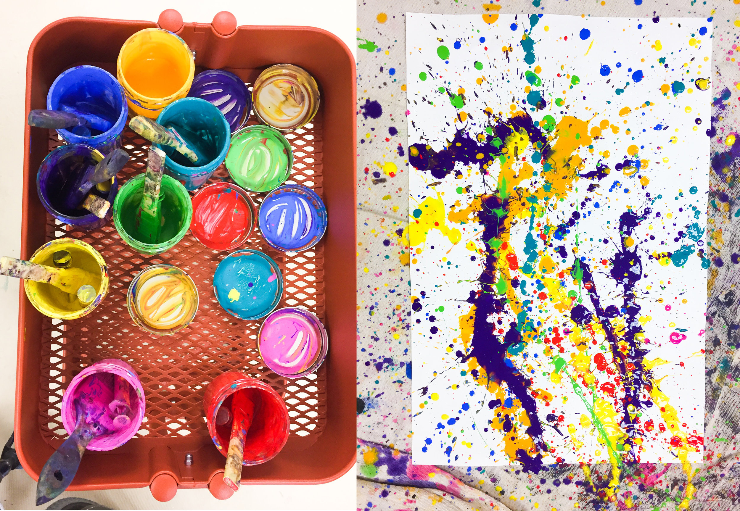 Tools of the trade and a splatter painting