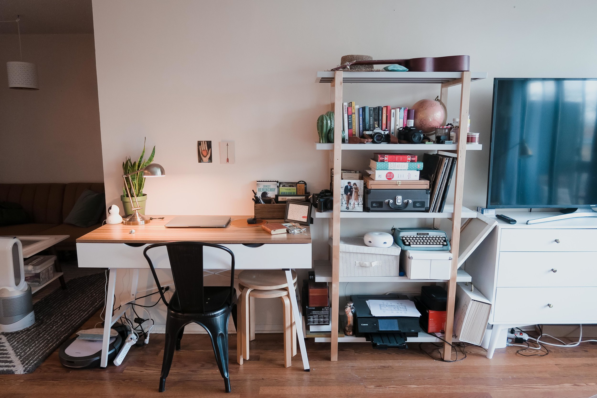 gab's work space - where he spent most of his time on his laptop, either on social media or writing his scripts.