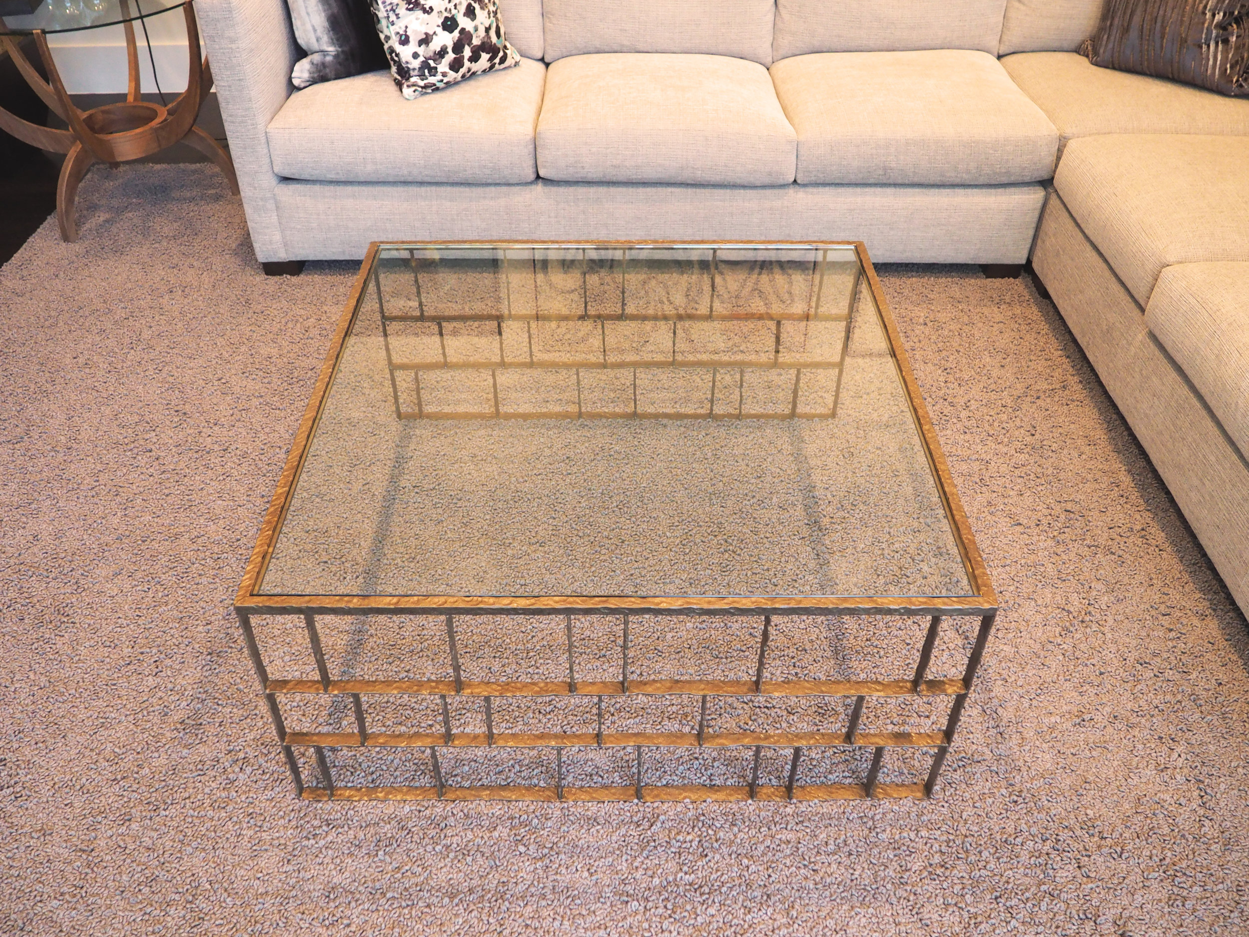 hammered steel coffee table