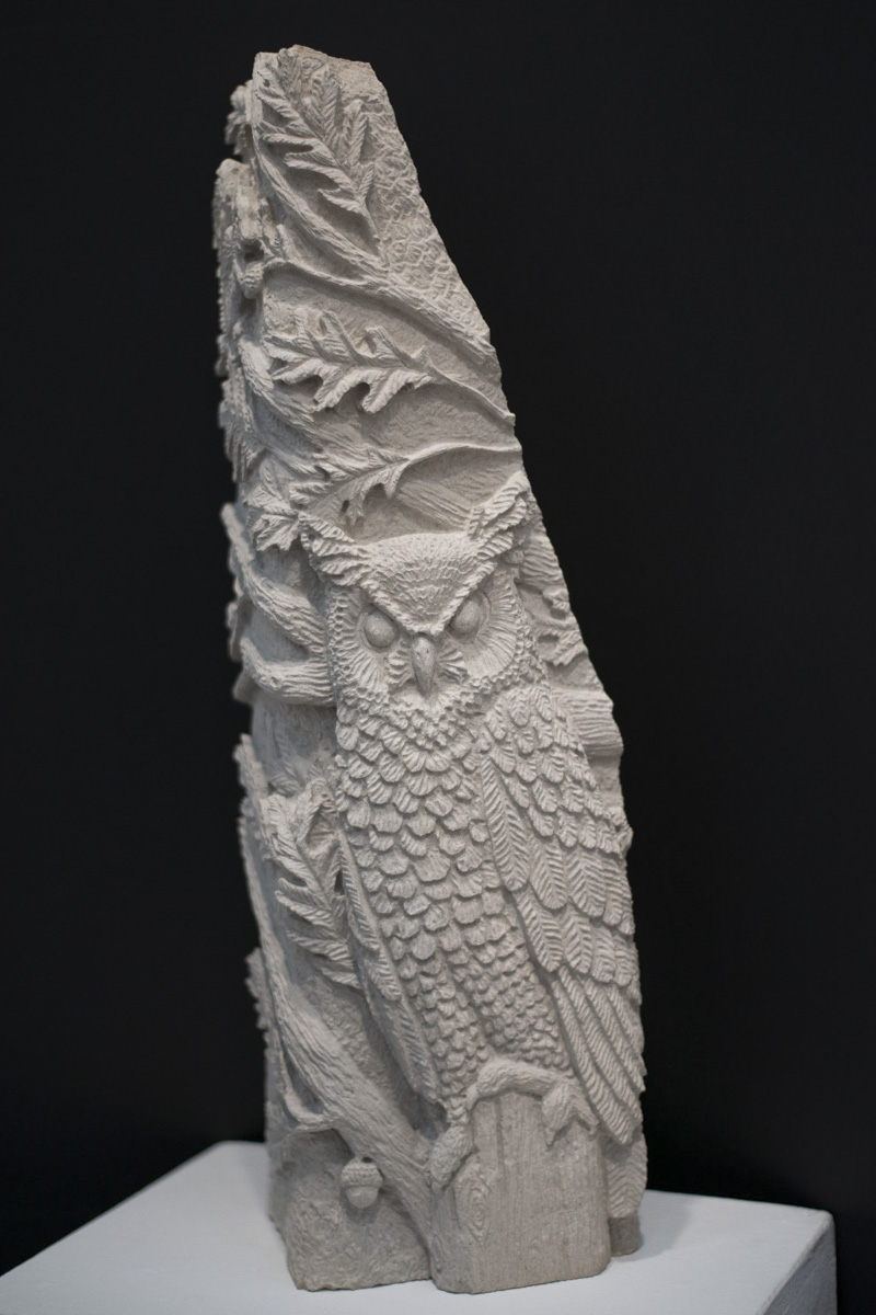 Owl stone carving by Sidney Bolam of Bohemian Hobbit Studio