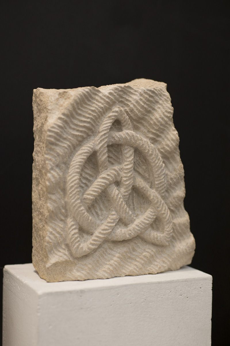 Celtic knot stone carving by Sidney Bolam of Bohemian Hobbit Studio