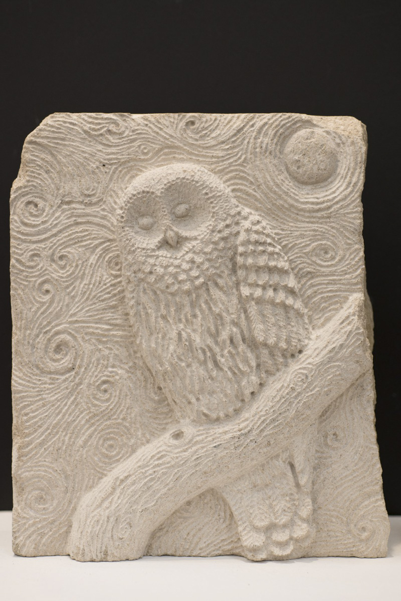 Starry night owl Mermaid stone carving by Sidney Bolam of Bohemian Hobbit Studio