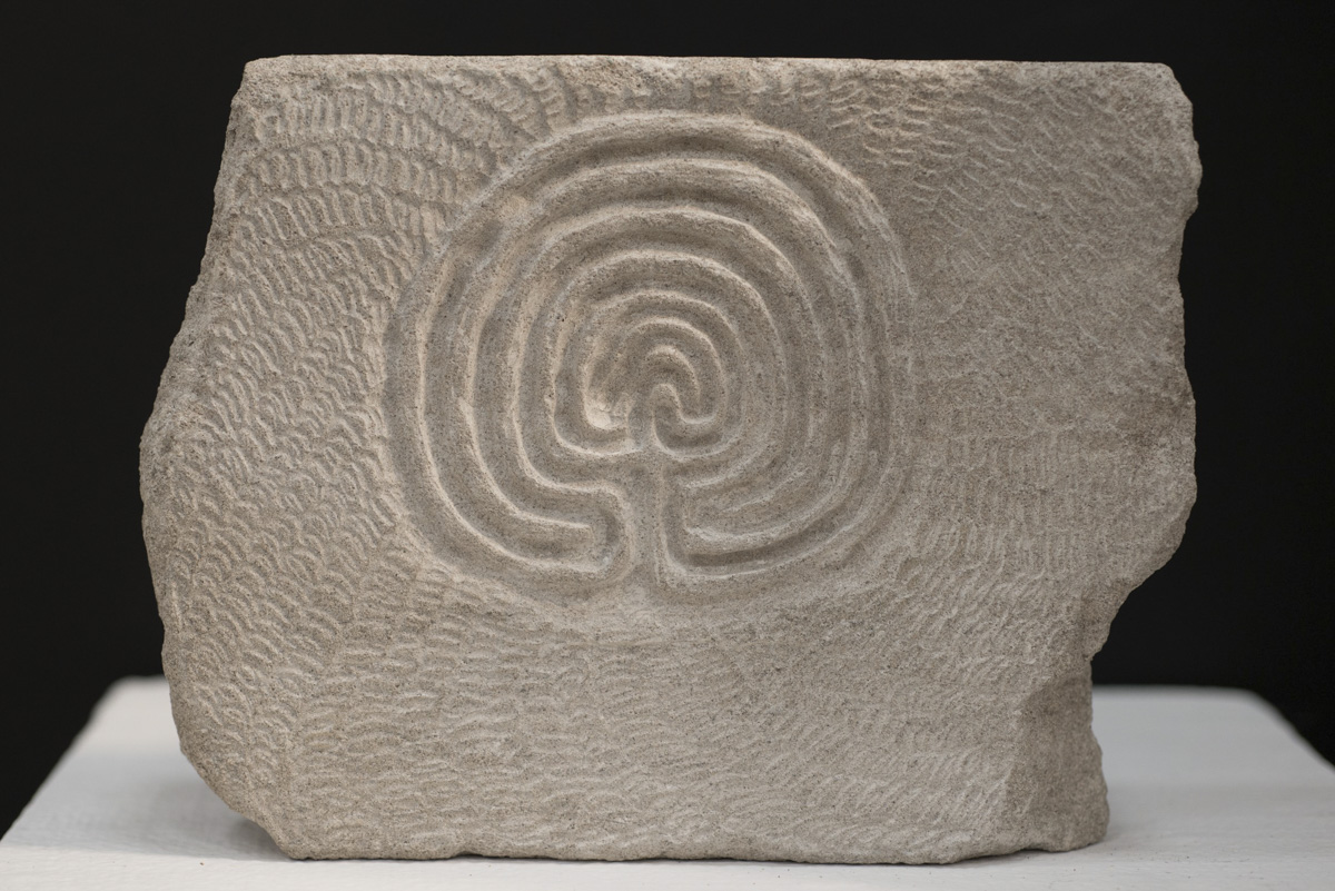 Labyrinth stone carving by Sidney Bolam of Bohemian Hobbit Studio