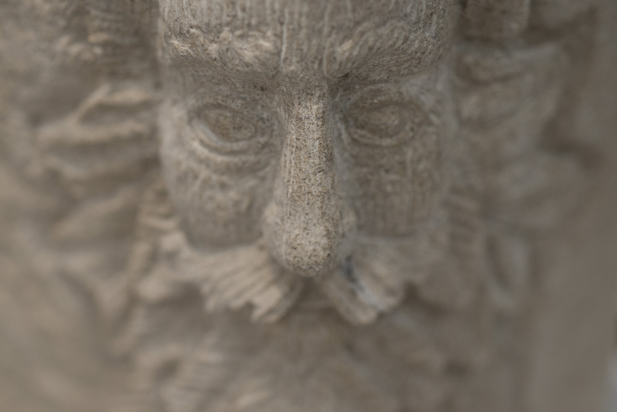 Green man detail on a stone carving by Sidney Bolam of Bohemian Hobbit Studio