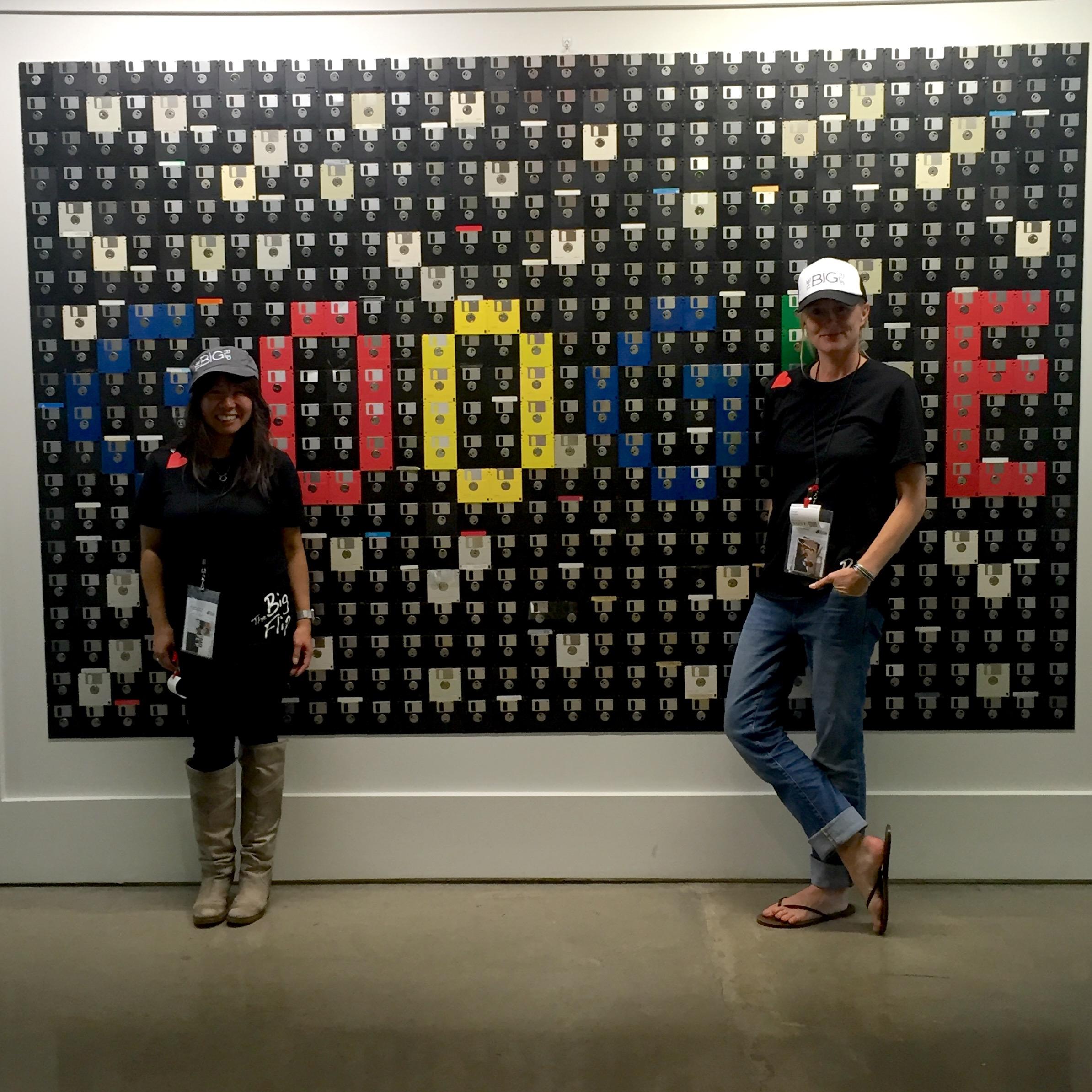 Admiring the floppy disk art at Google