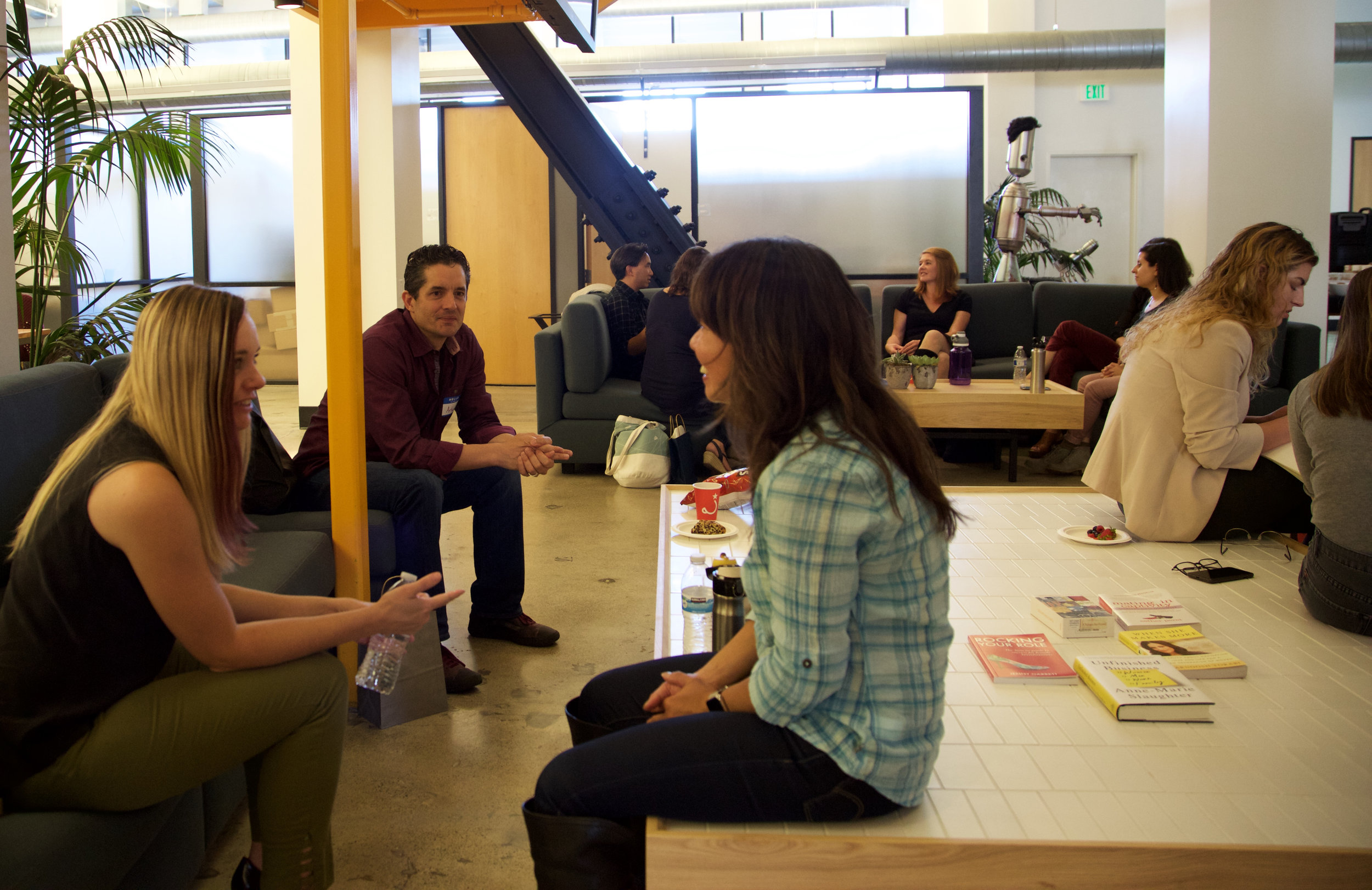 Speakers Melanie Williams from Frog Design, Arturo Menuiot from Alloy PD chat with director Izzy