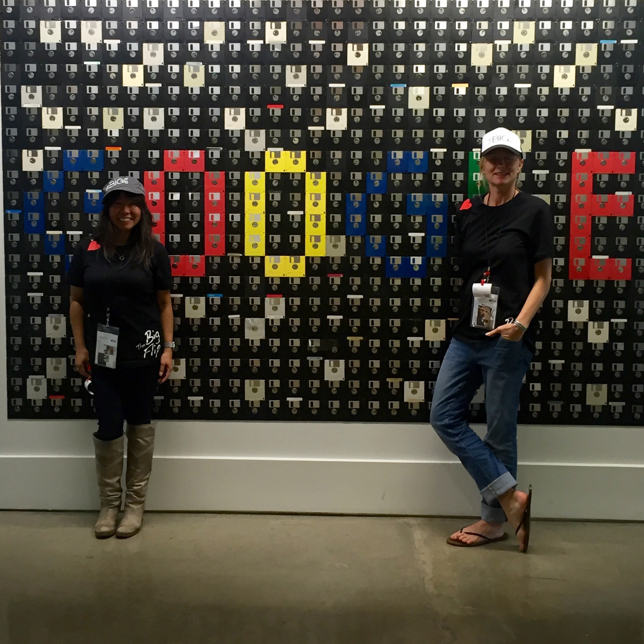 In front of Google's floppy disk art