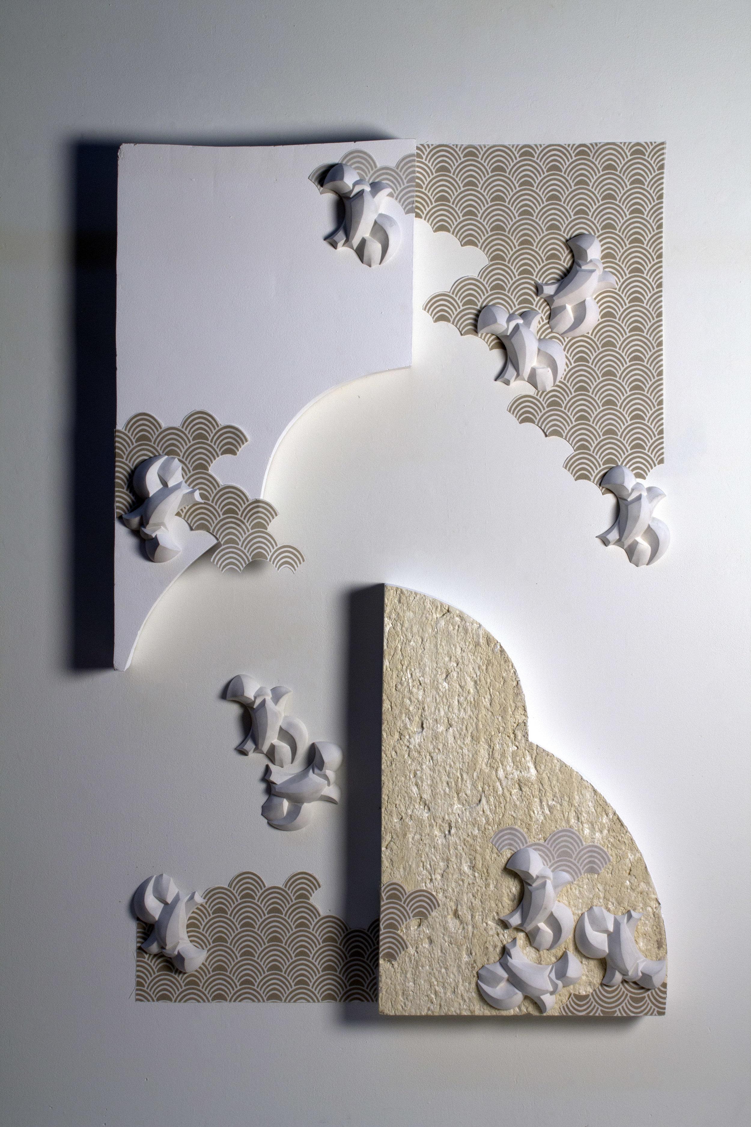 2016  Foam, slip cast low-fire porcelain, fabric