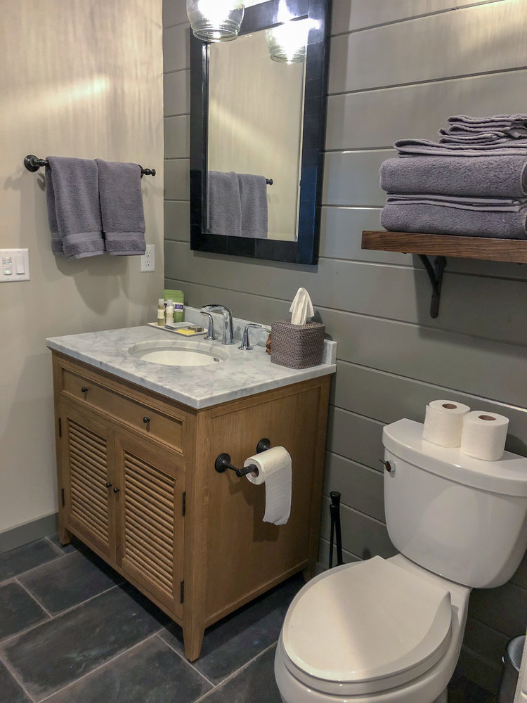 The bathroom is equipped with handmade lavender bath products to enhance your stay