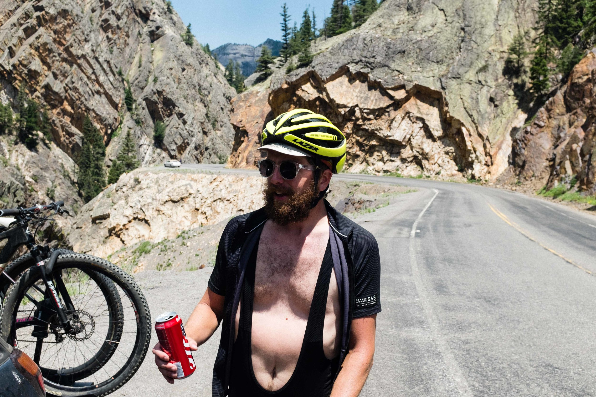 Eric and Natalie stopped on their way to the Alpine Loop Trail and tossed us a few Cokes, some water, and some bars. We call this CLUTCH.