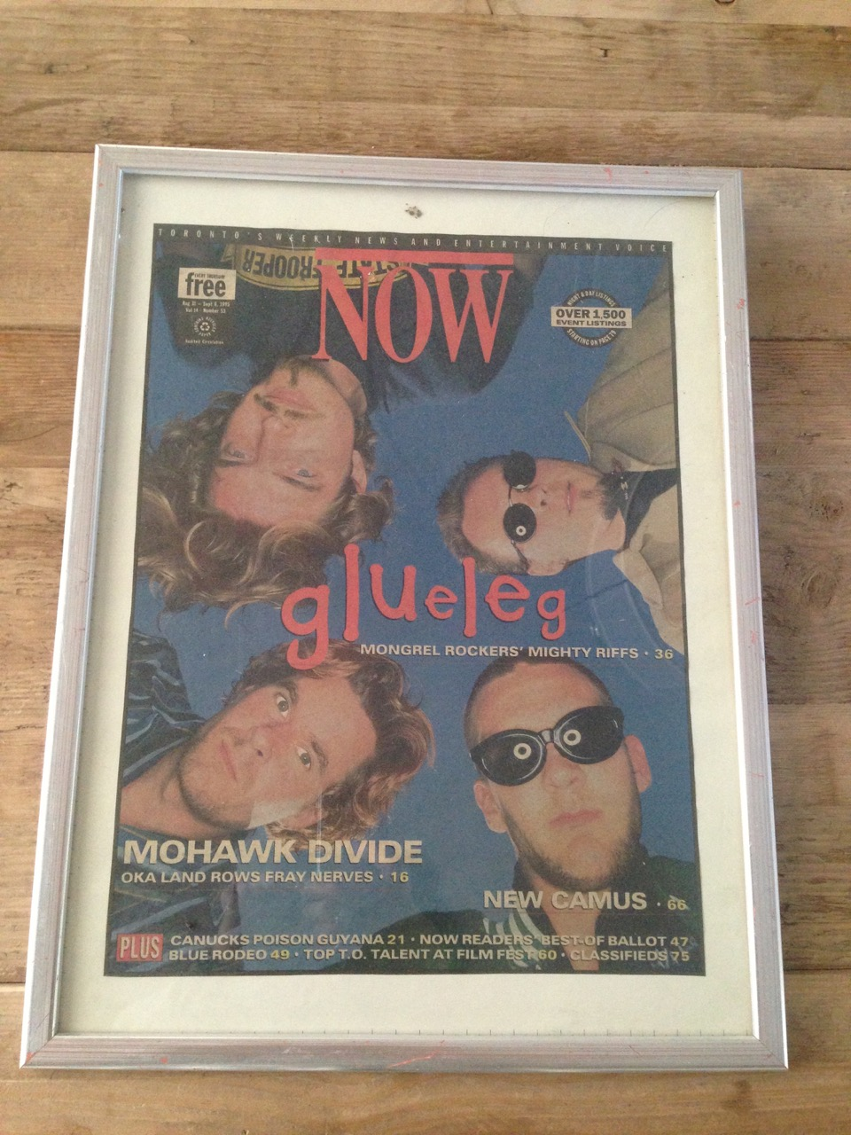 Front cover of NOW magazine for Glueleg's first release and cross Canada tour