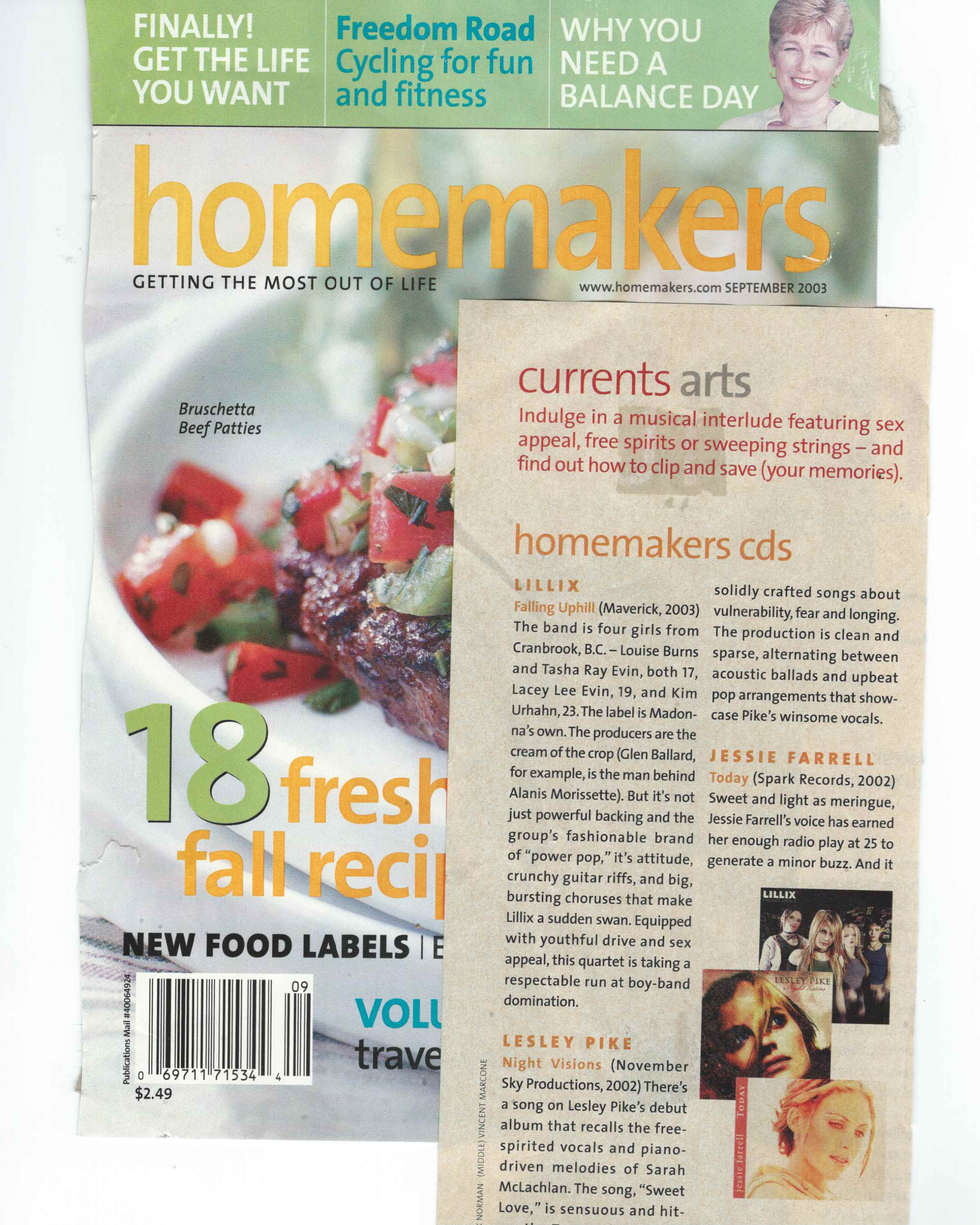 Lesley Pike's 'Night Visions' featured in Homemaker's magazine