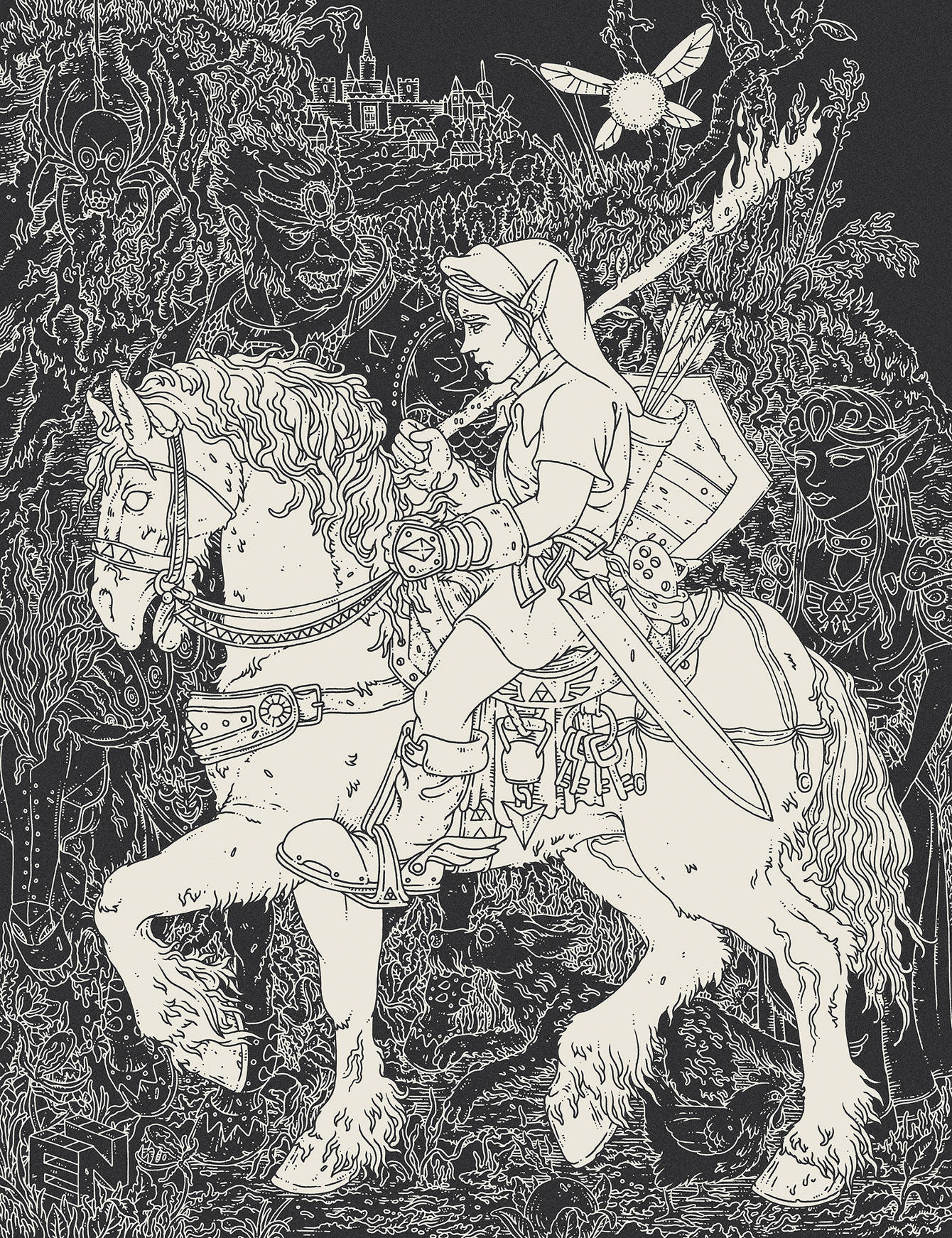 Zelda Ocarina of Time. Serigraph Print for  Giant Robot's GAME OVER SHOW .