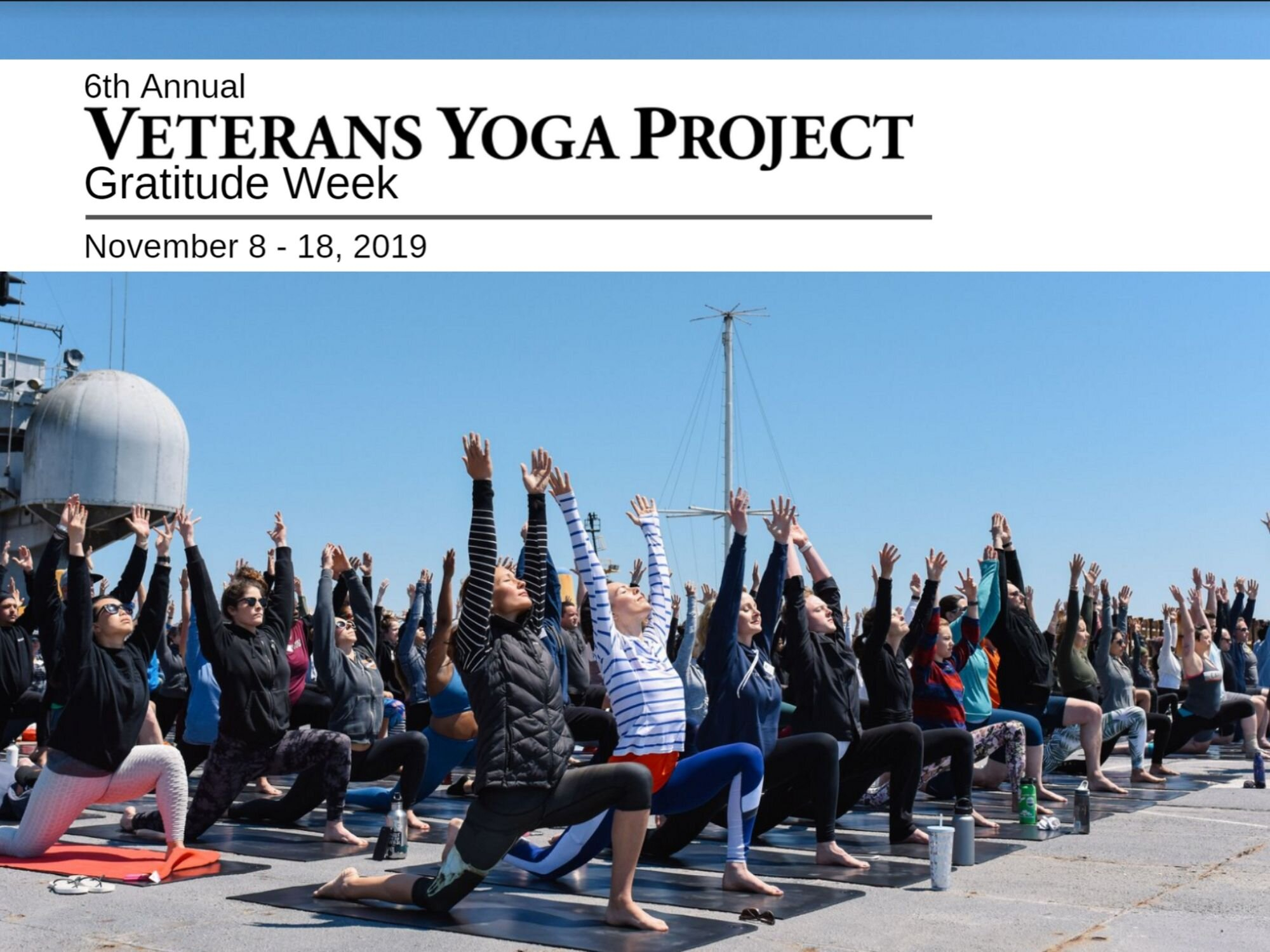 We Thank You ForYour Service - During the week of November 8 thru 18th, the Veterans Yoga Project, in conjunction with 100's of yoga teachers around the globe, show their gratitude to you for all you do.Find a specially offered class, with our thanks.
