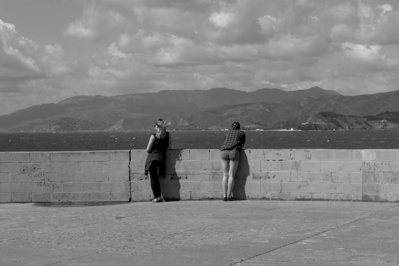 "Two Women Standing Apart, 20x16"", digital print"