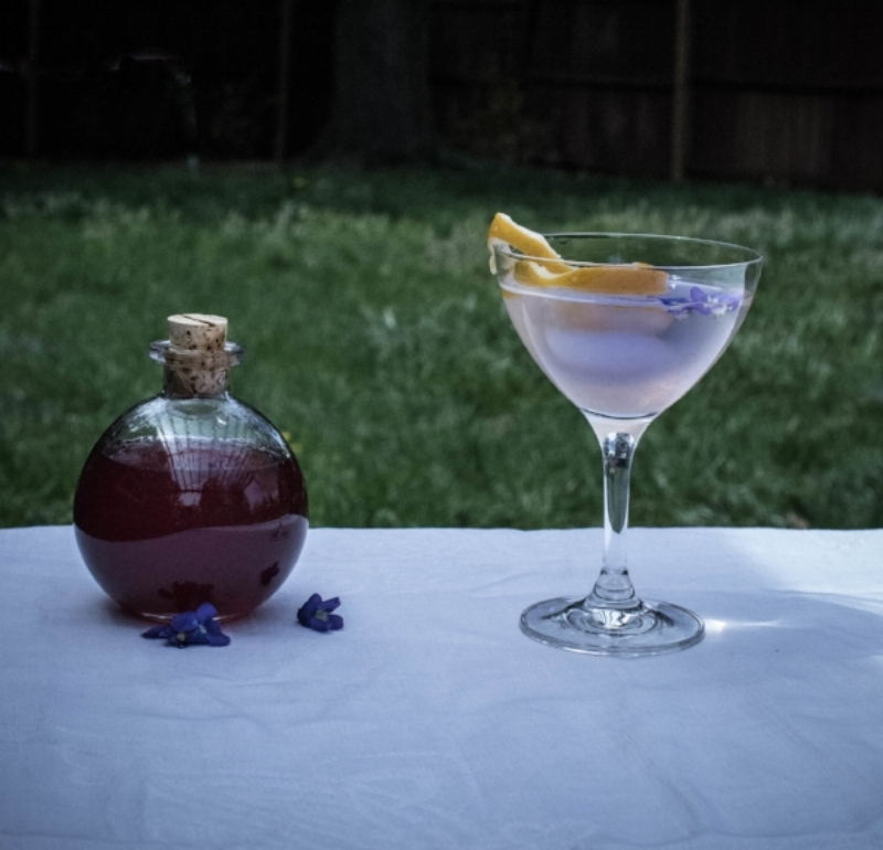 Violet Syrup and a refreshing Spring beverage.  Photo by FreeDom Danielle Flowers.