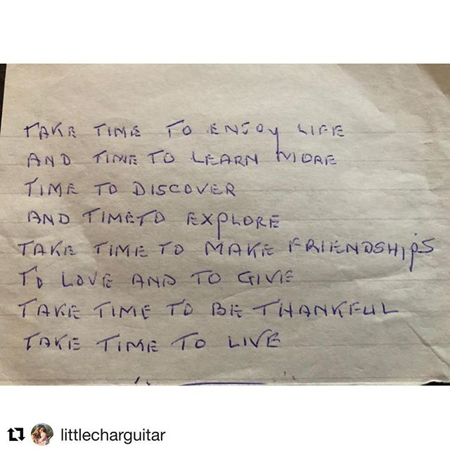 Love this post with stellar life advice and had to #Repost @littlecharguitar ・・・ My Dad found and old keepsake note from my late grandmother Kath... 👍🏻